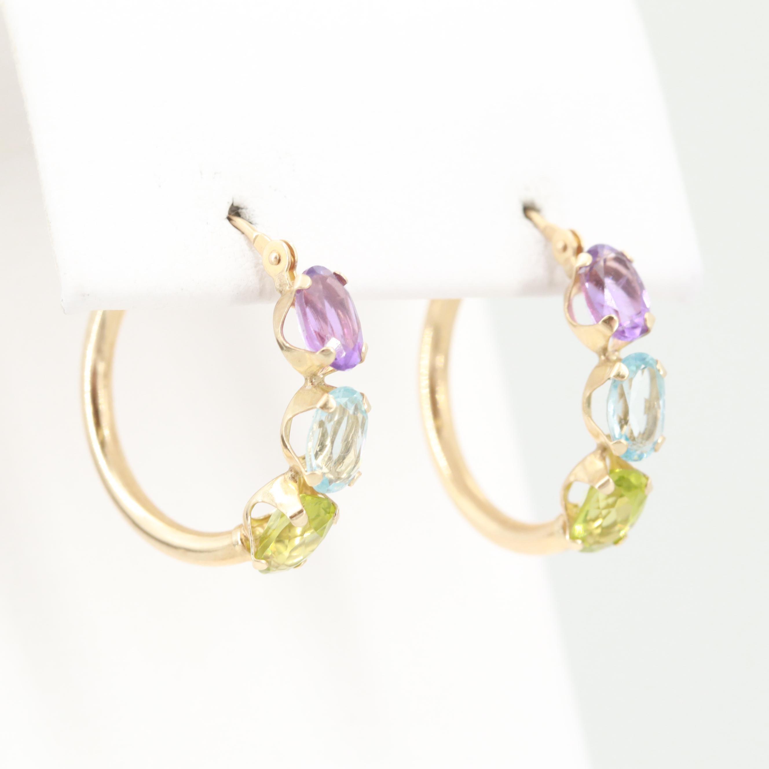 14K Yellow Gold Amethyst, Peridot and Blue Topaz Hoop Earrings