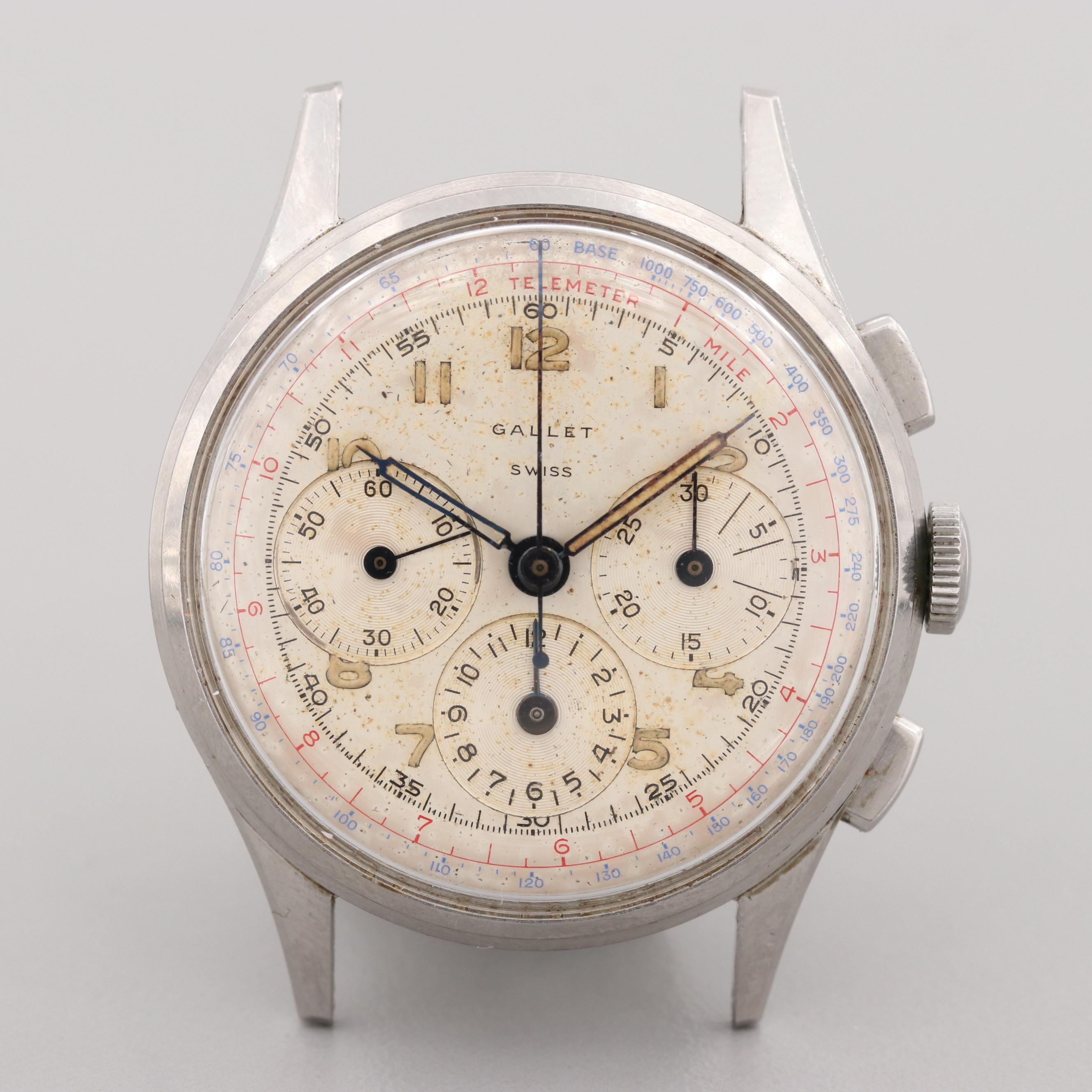 Vintage Gallet Multi Chron Stem Wind Chronograph Watch