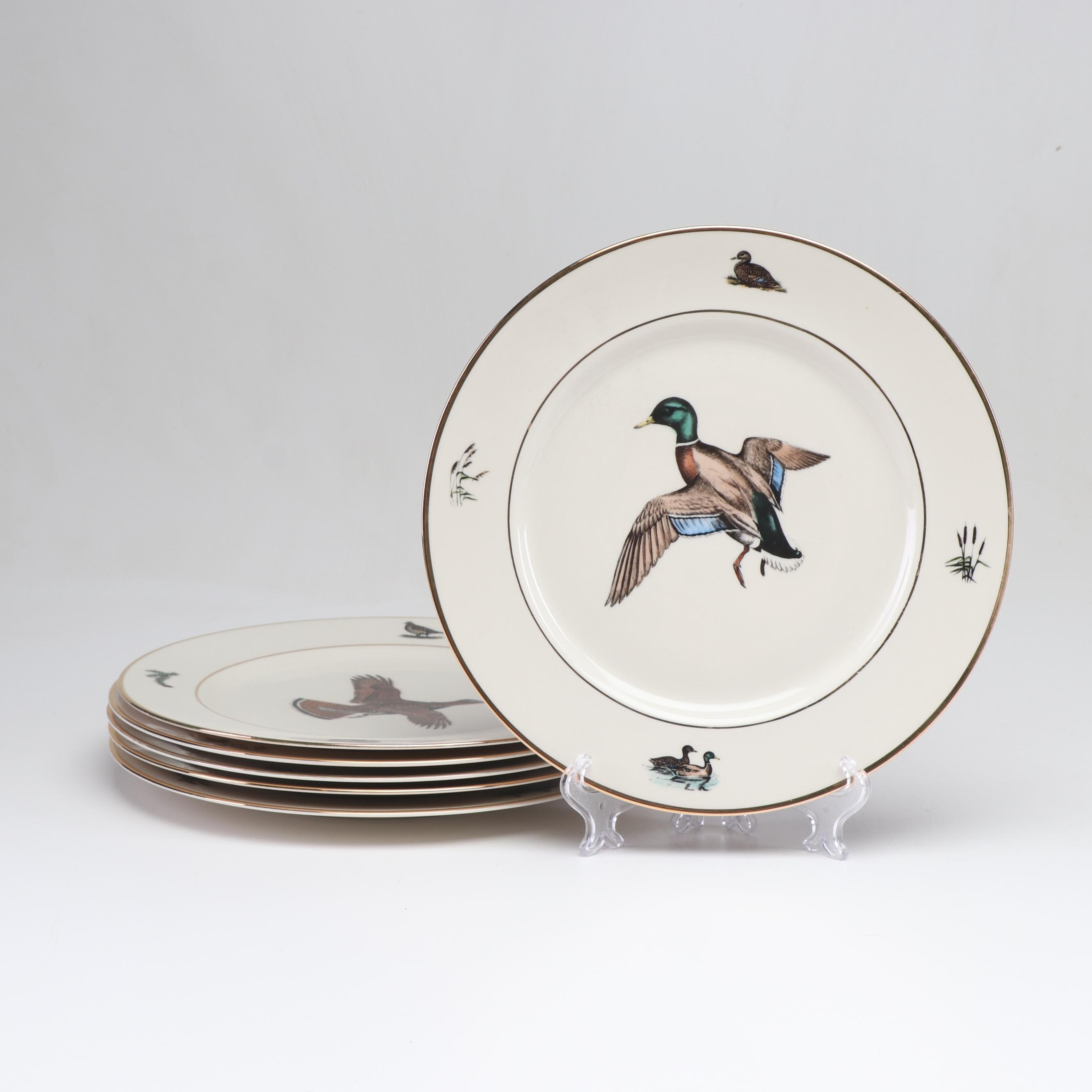 Hand-Colored Fowl Dinner Plates after Watercolor Paintings by Dennis Puleston