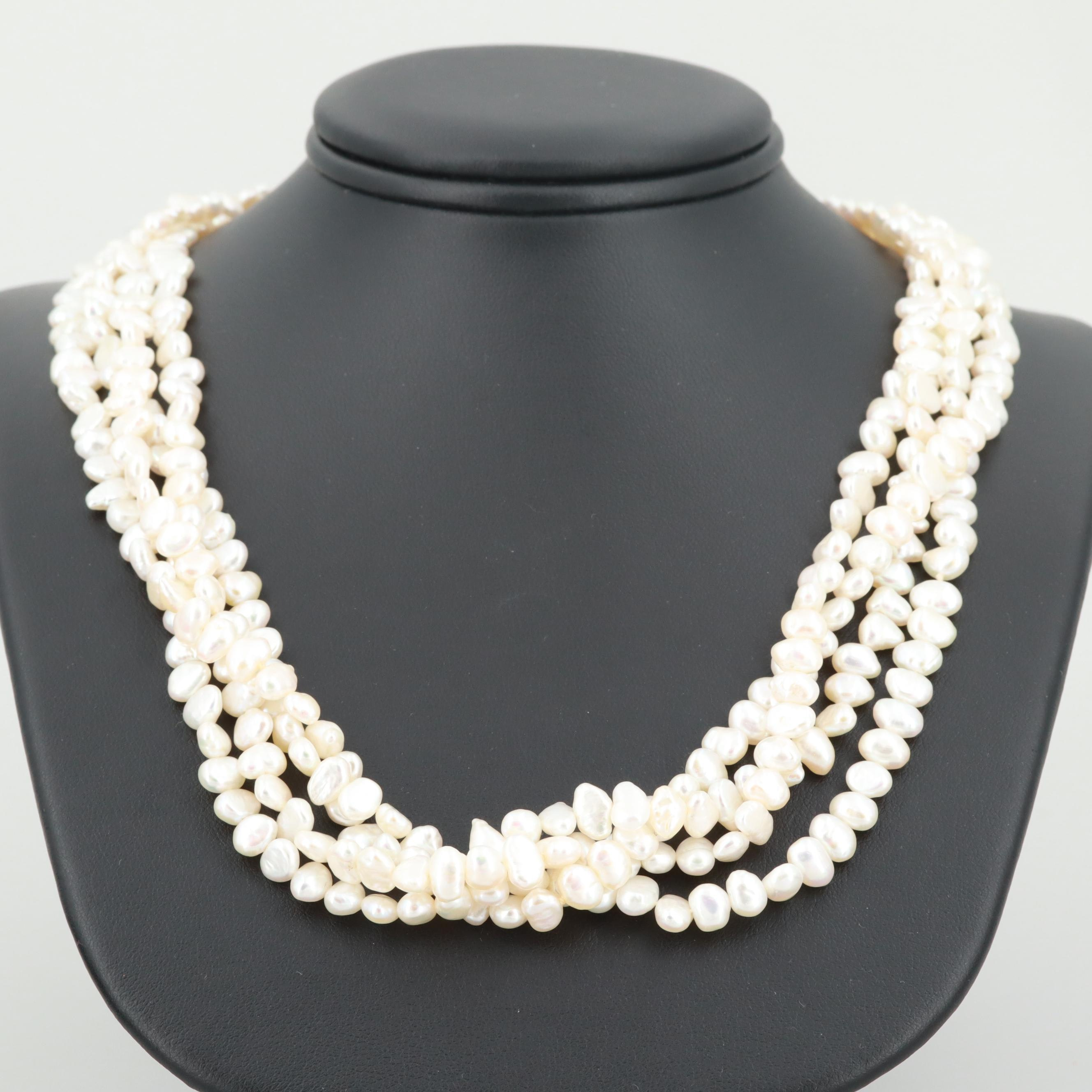14K Yellow Gold Cultured Pearl Four Strand Necklace