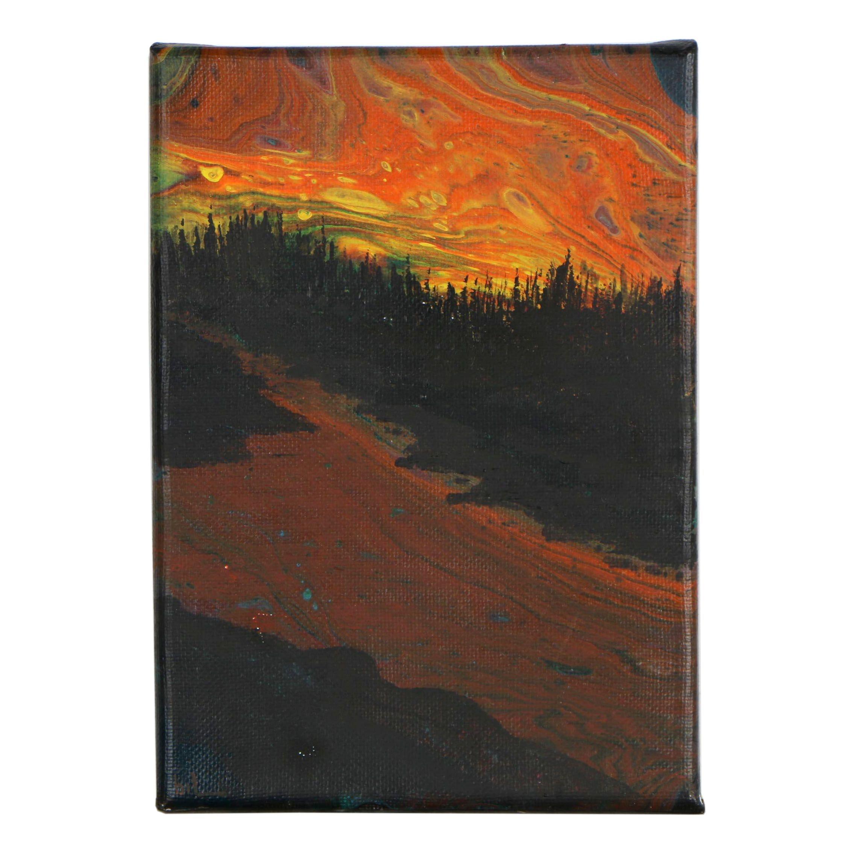 "Abstract Acrylic Painting ""Lava Hawaii / Altered Art Aurora Borealis Sky"""