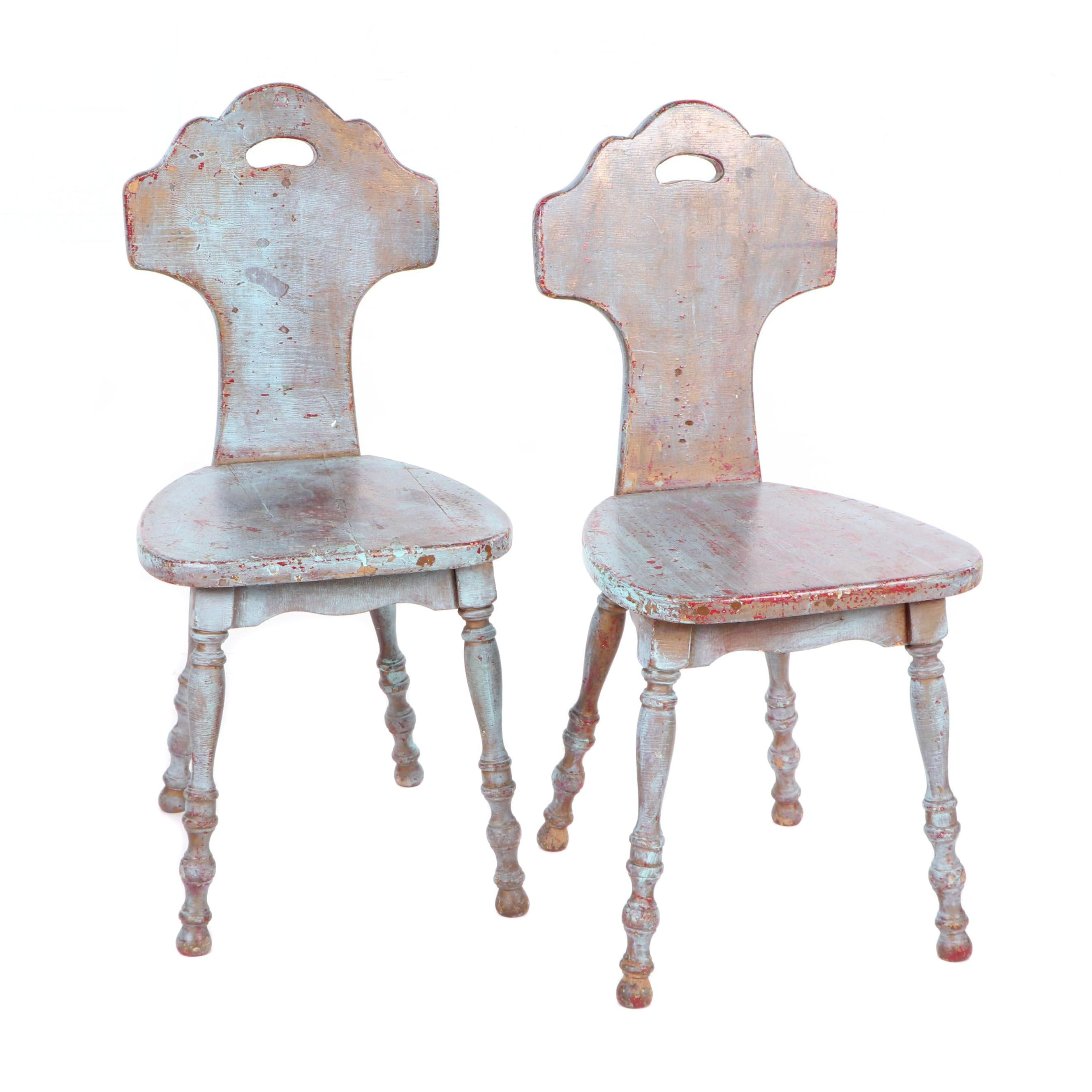 Blue Painted Sgabello Style Chairs with Turned Legs, Early 20th Century