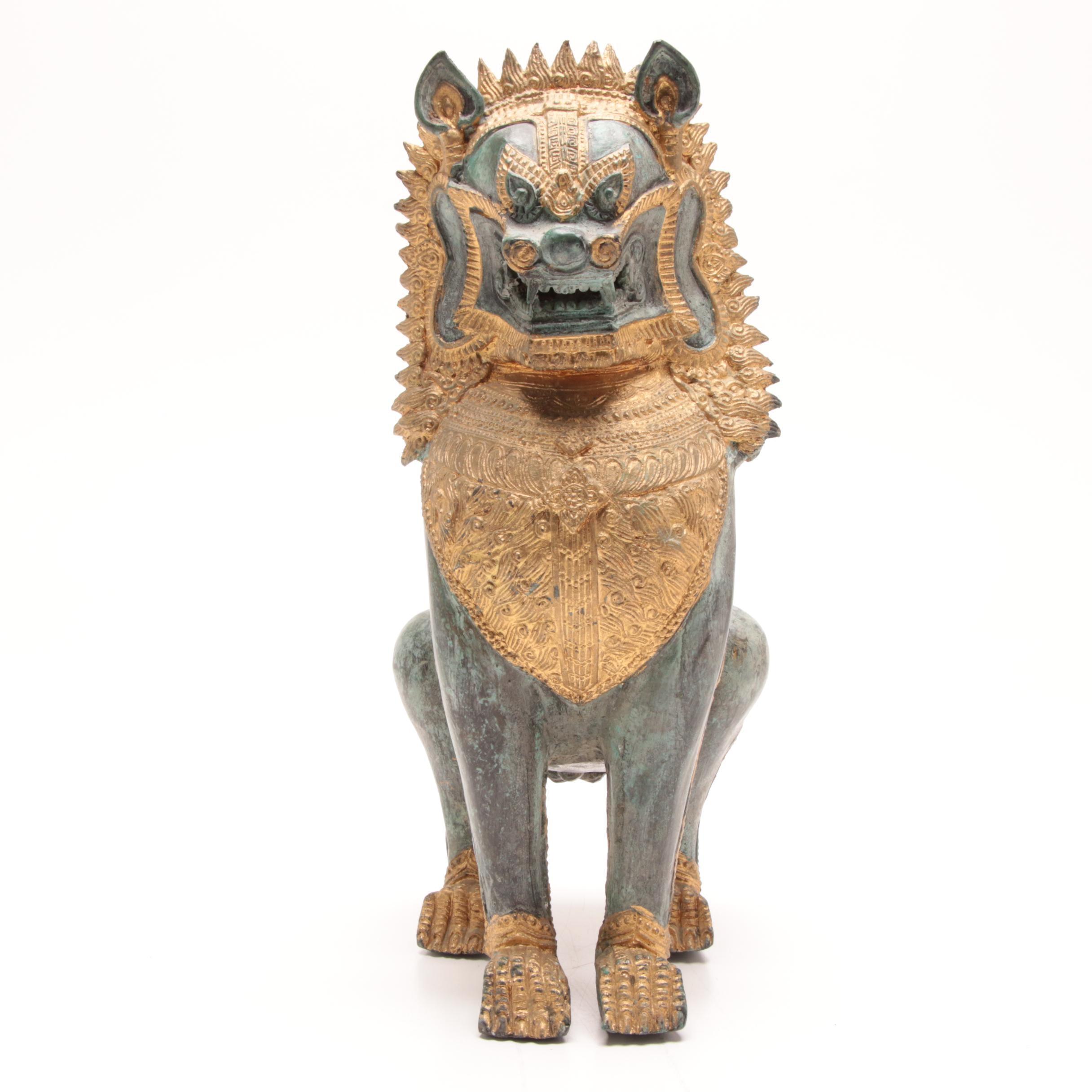 Thai Style Bronze Guardian Lion Statue