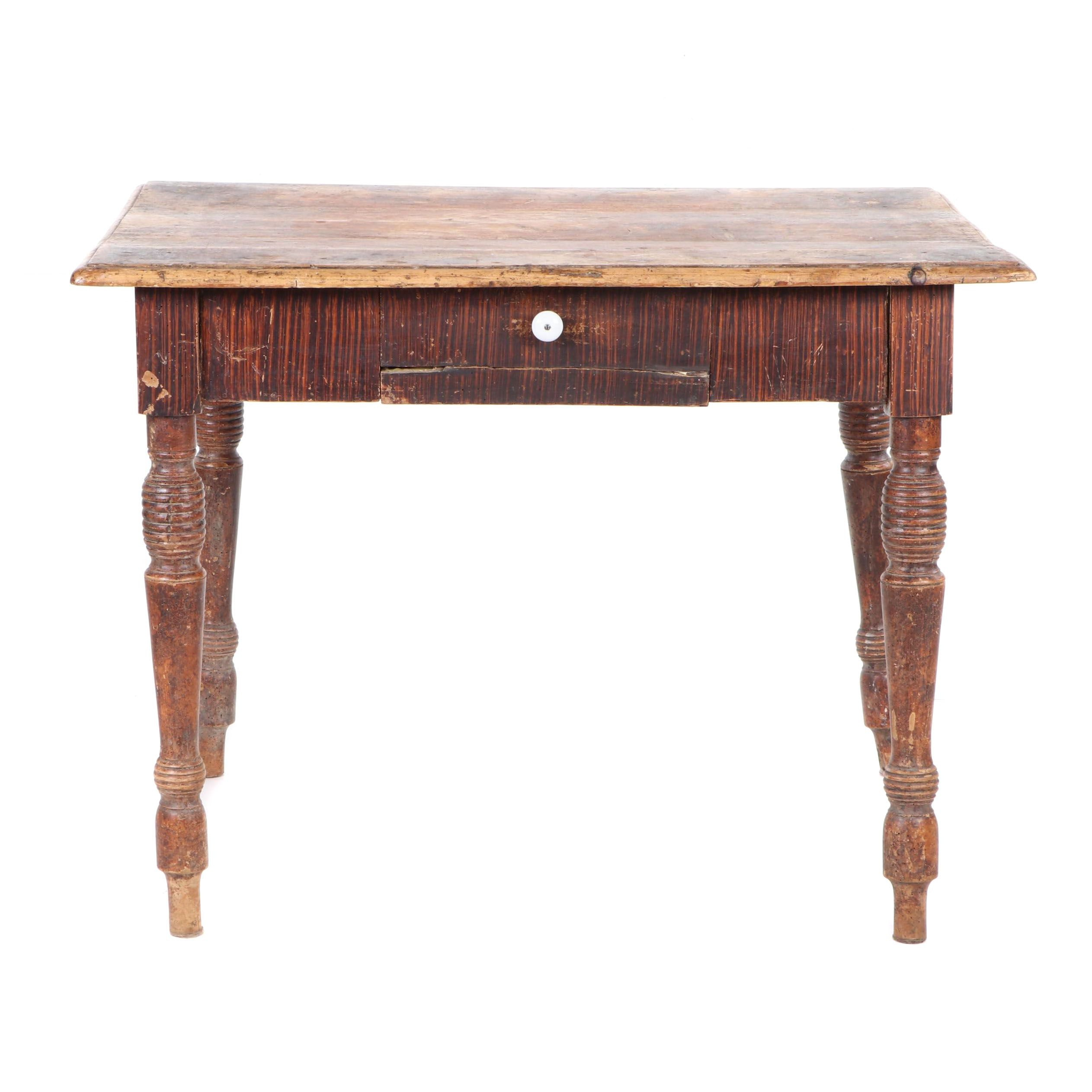 Turned Leg Drafting Table with Painted Wood Grain, circa 1900
