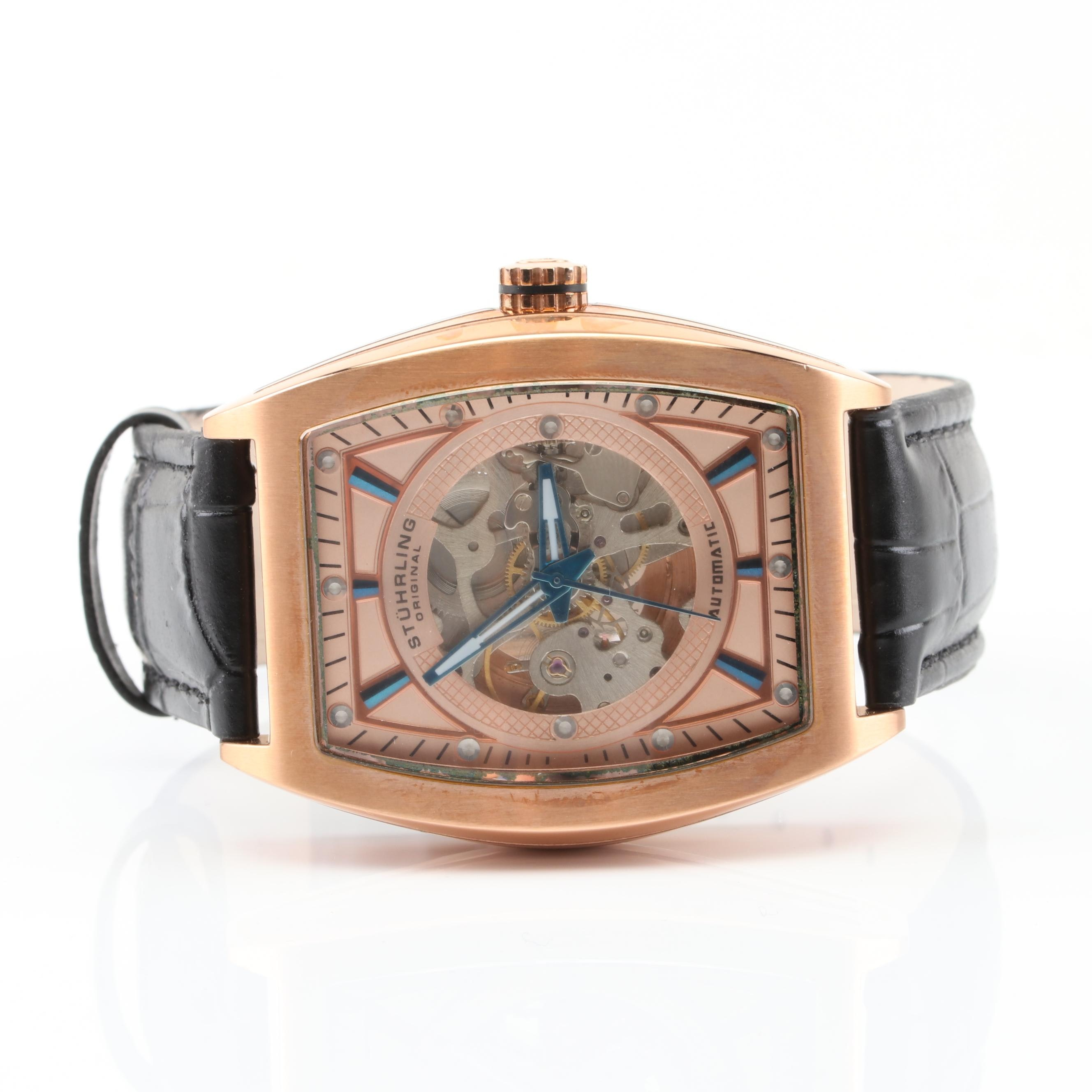 Stührling  Skeleton Back Wristwatch with Leather Band