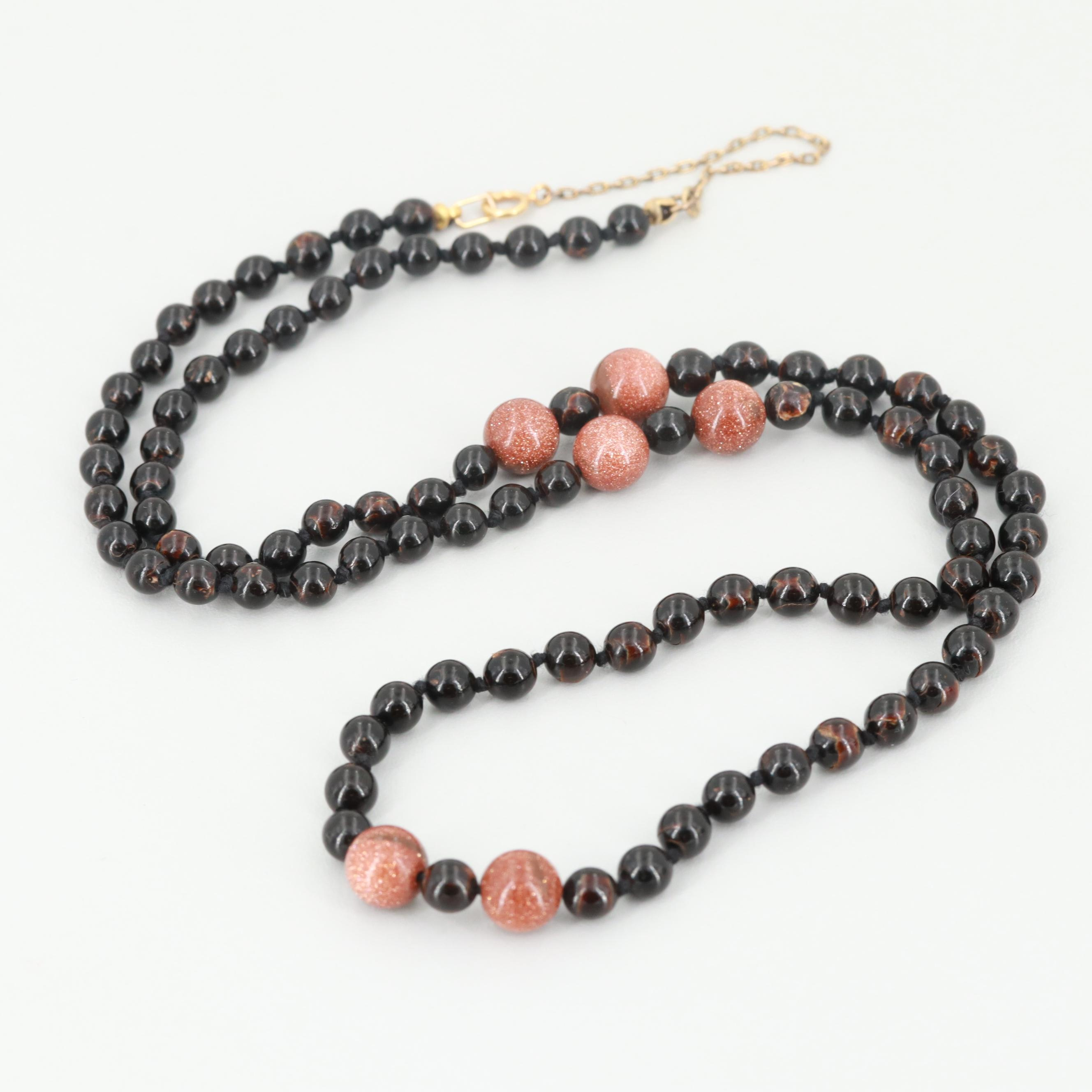 14K Yellow Gold Sunstone Glass and Black Coral Beaded Necklace
