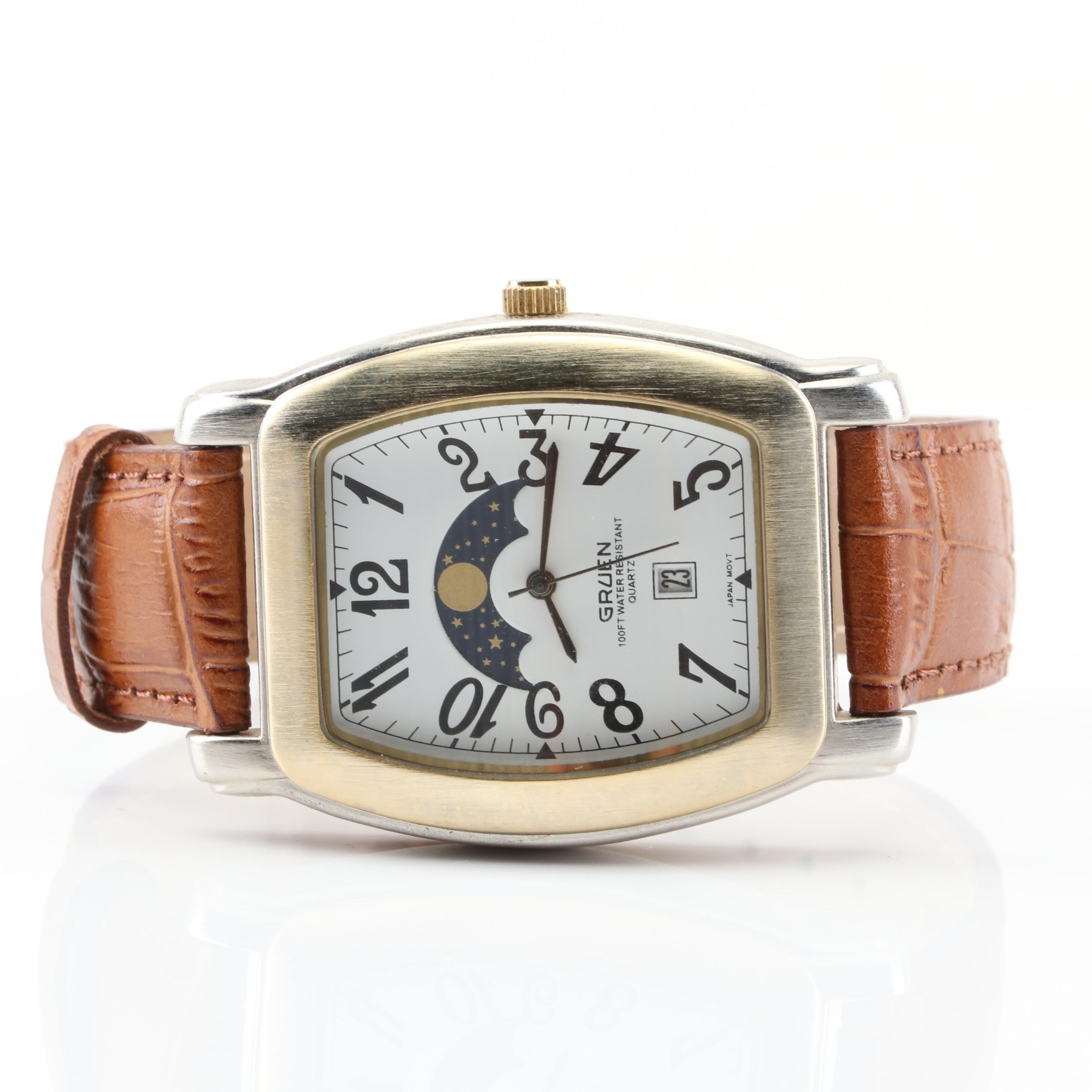 Gruen Moon Phase Wristwatch with Leather Band