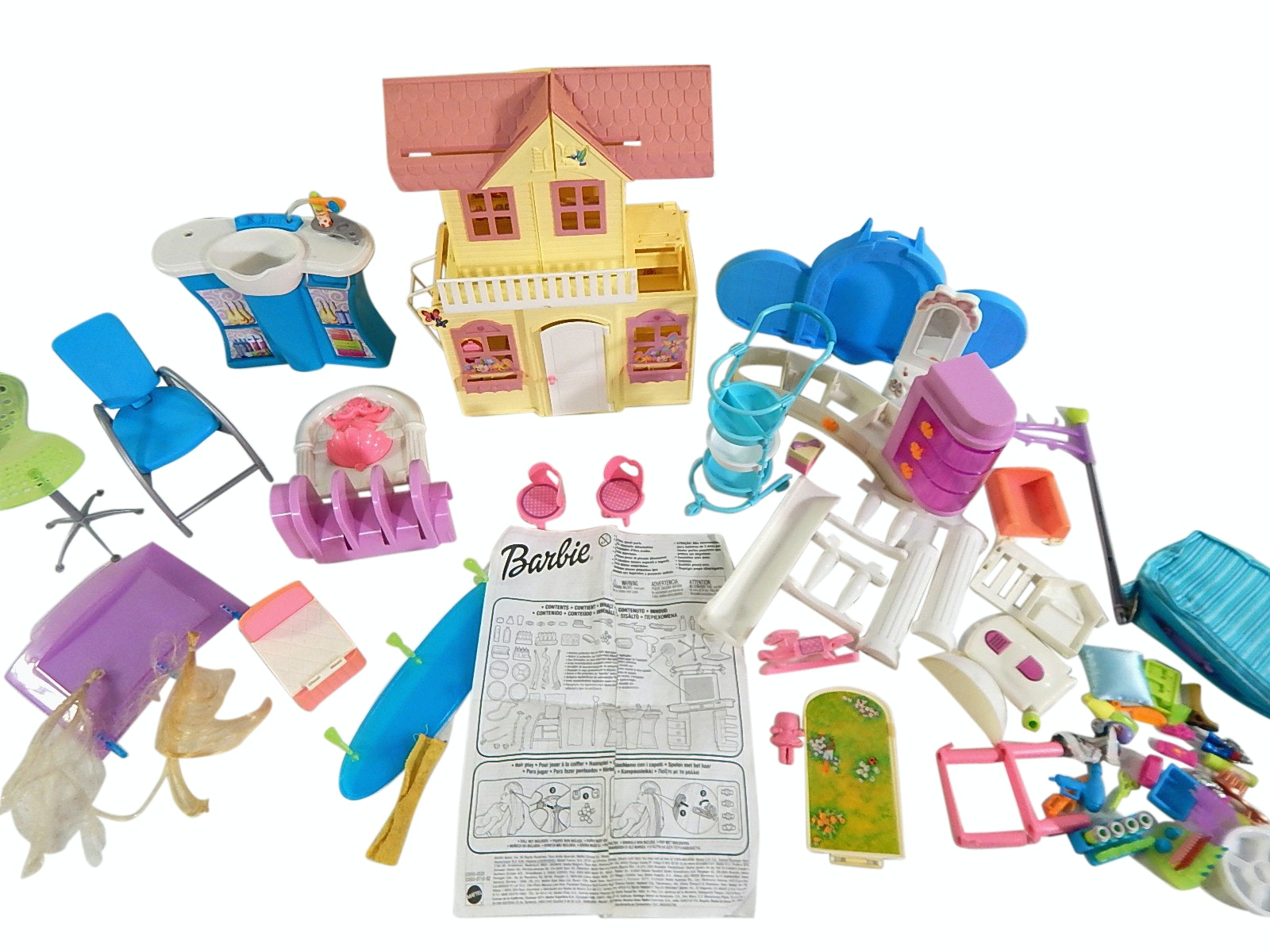 1998 Mattel Victorian Doll House and Barbie Salon Accessories