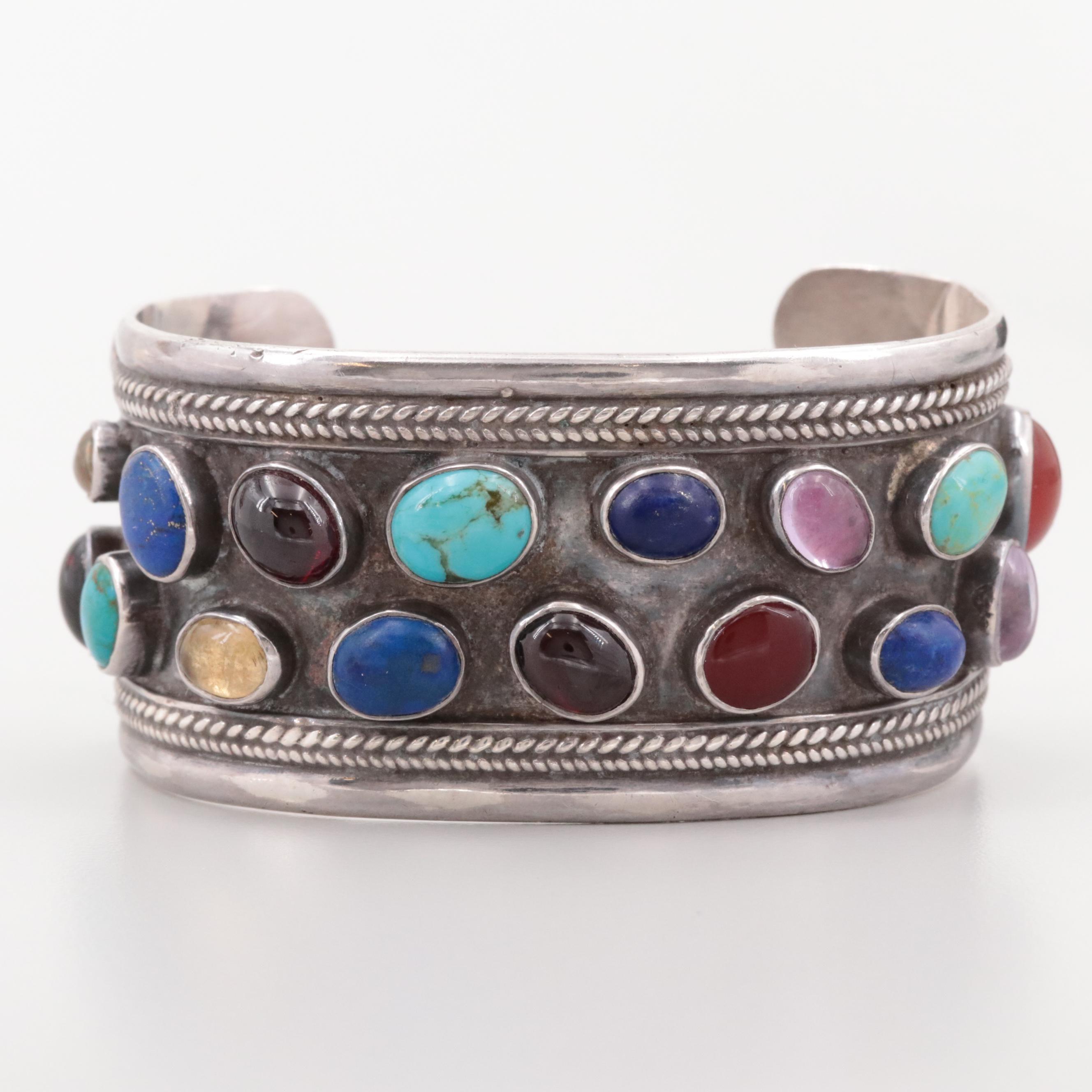Southwestern Style Sterling Garnet, Turquoise and Lapis Lazuli Cuff Bracelet