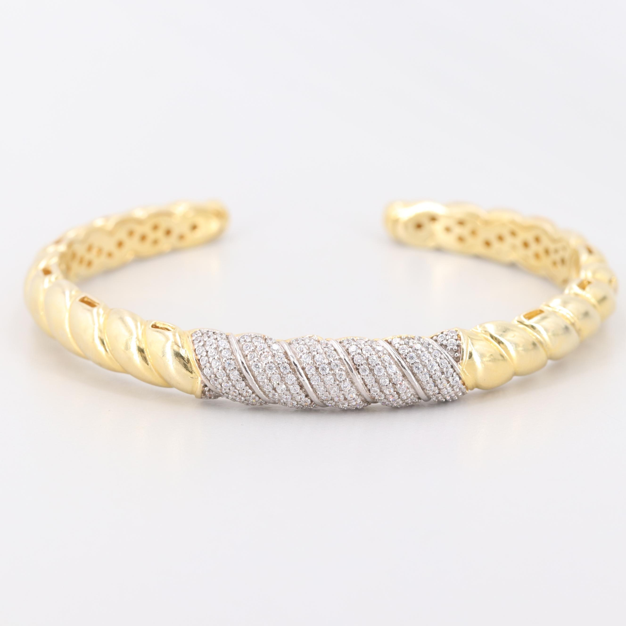 Gold Wash on Sterling Silver Cubic Zirconia Cuff Bracelet