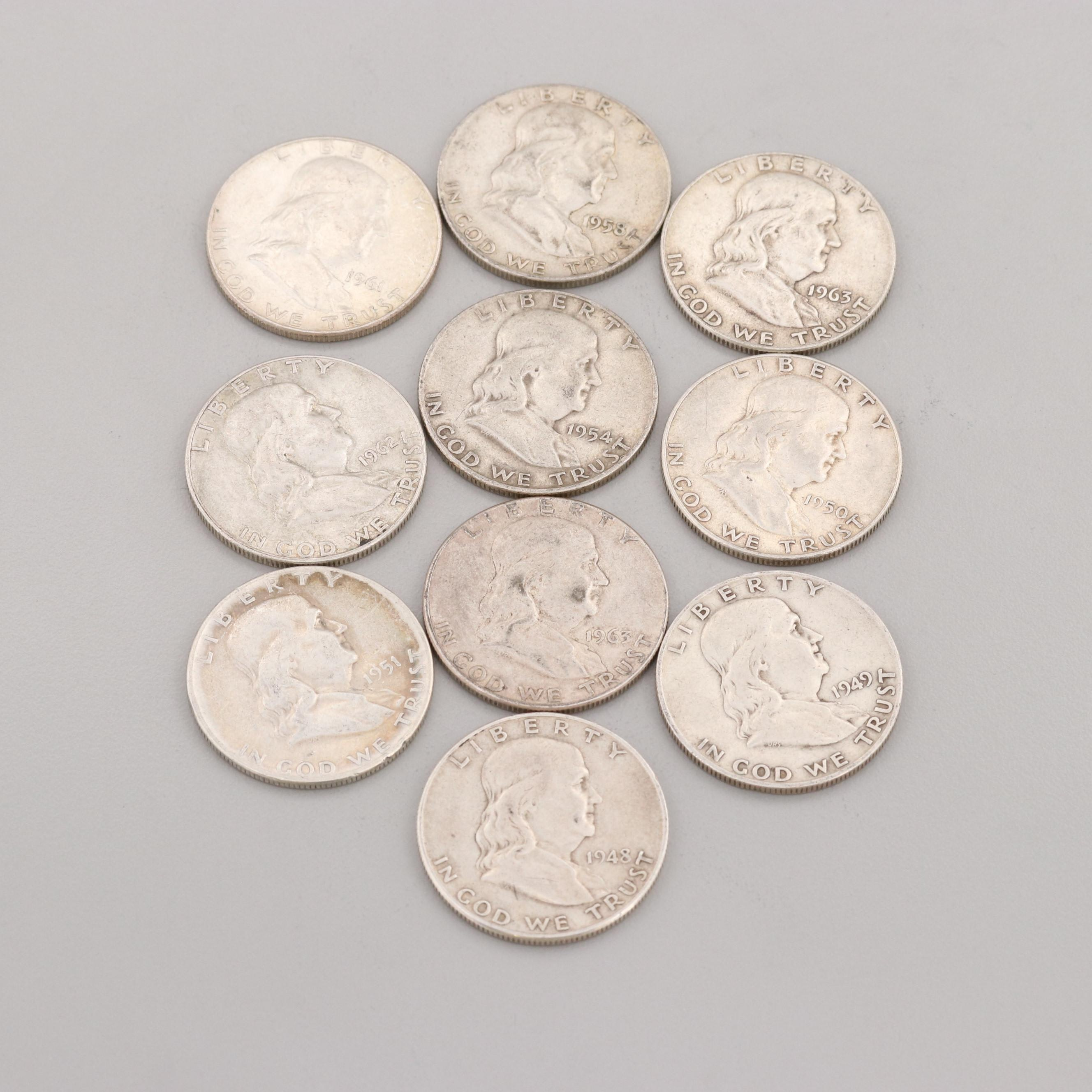 Group of Ten Franklin Silver Half Dollars Ranging from 1948-1963