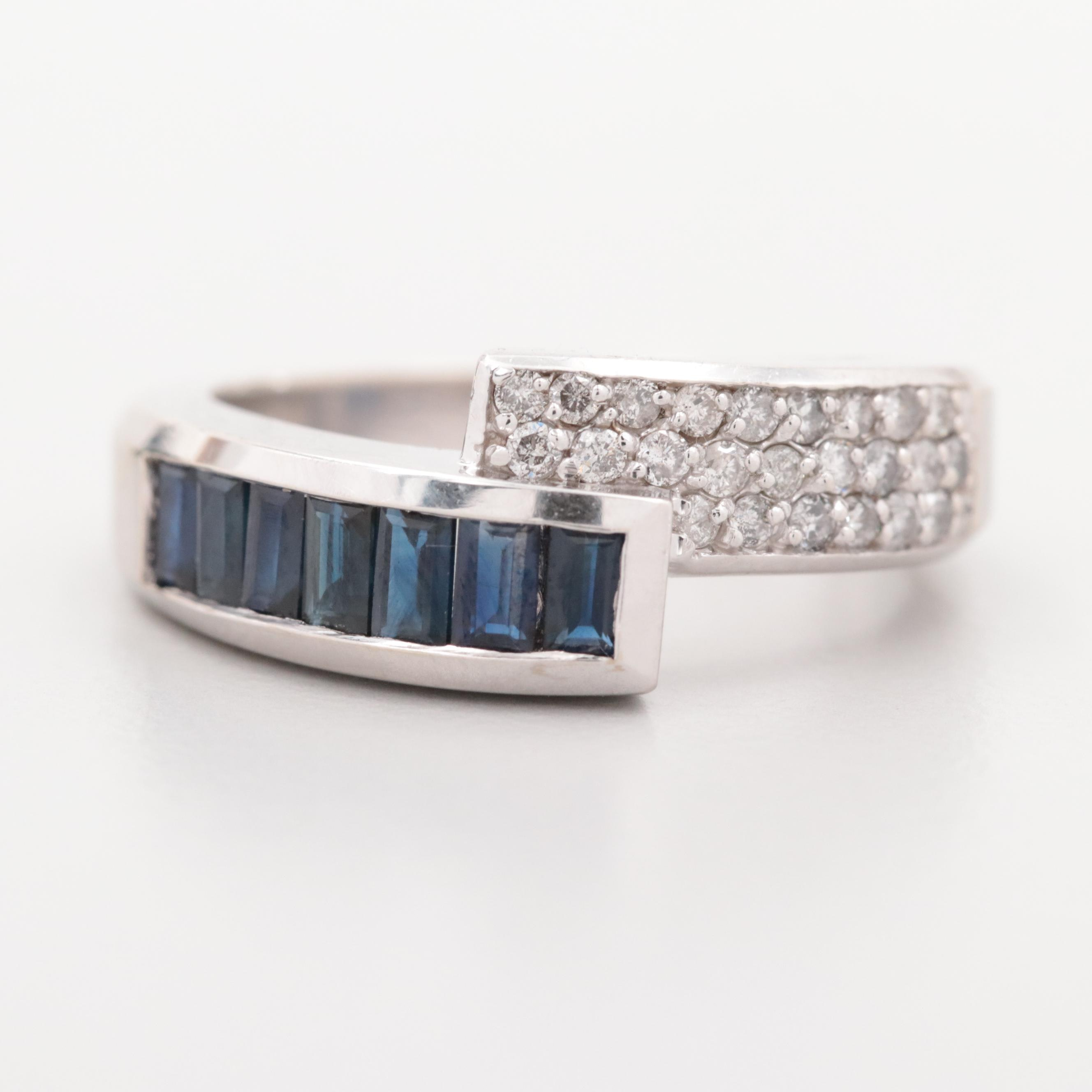 14K White Gold Diamond and Blue Sapphire Ring