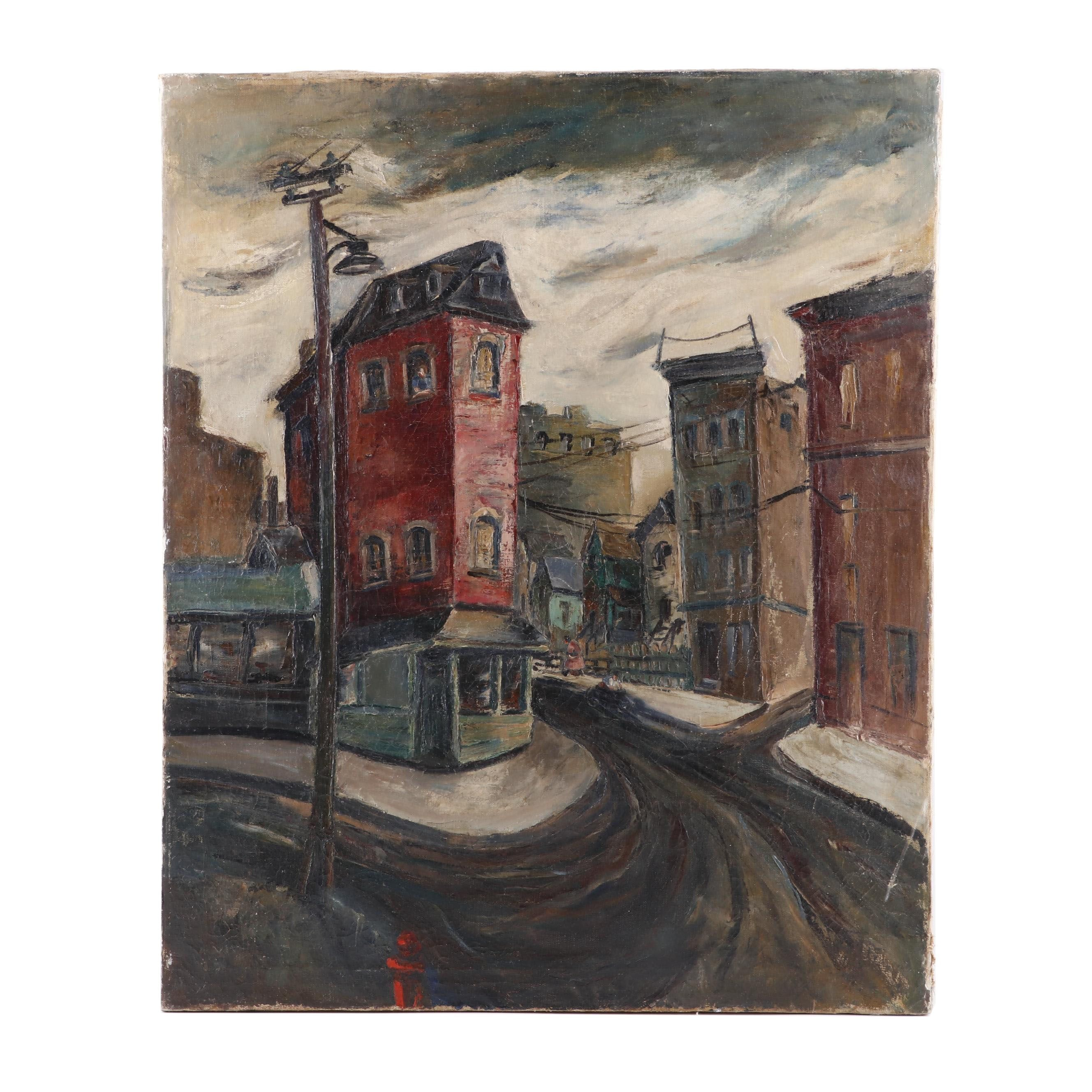 Oil Painting of a Street Scene