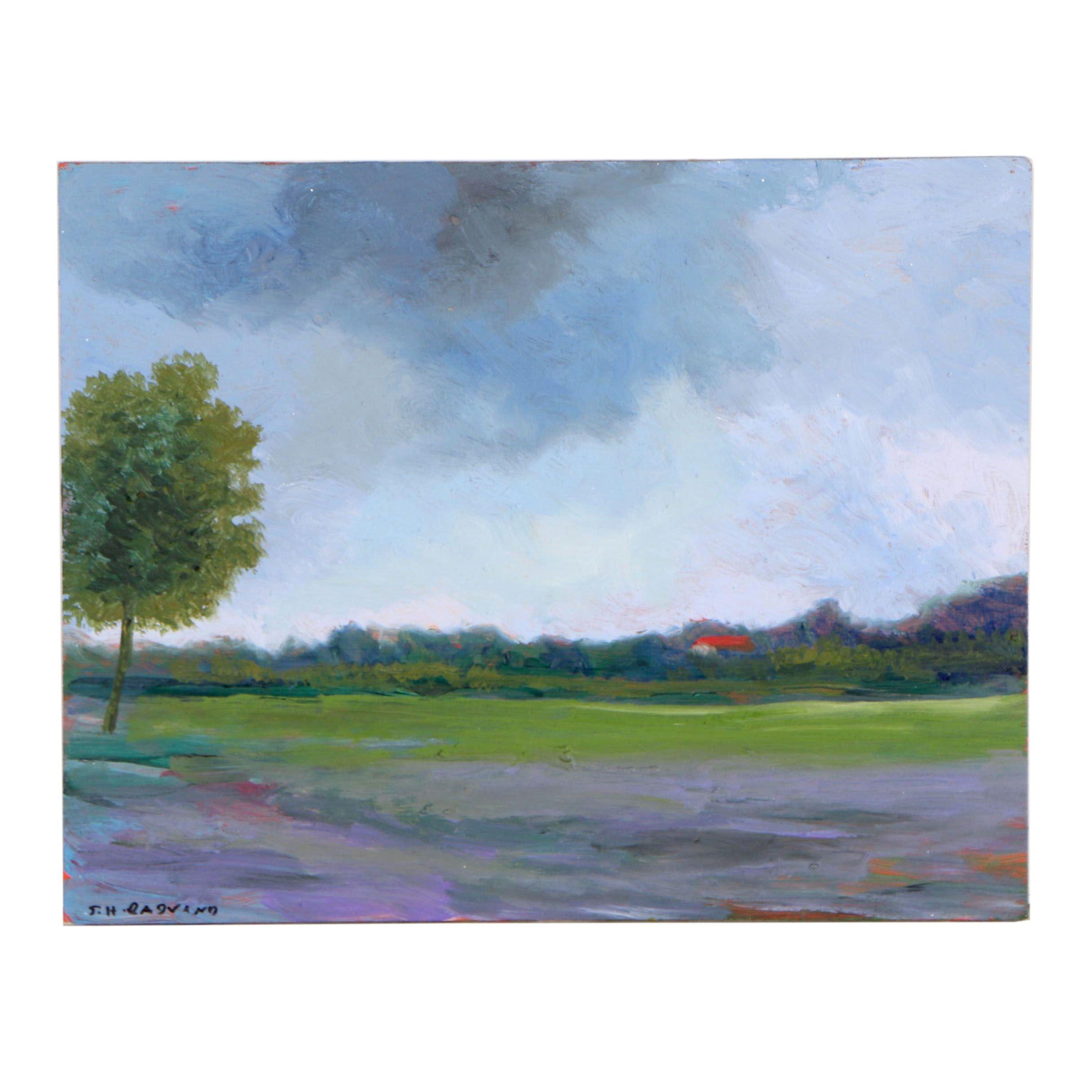 Sulmaz H. Radvand Acrylic Painting of Impressionist Landscape