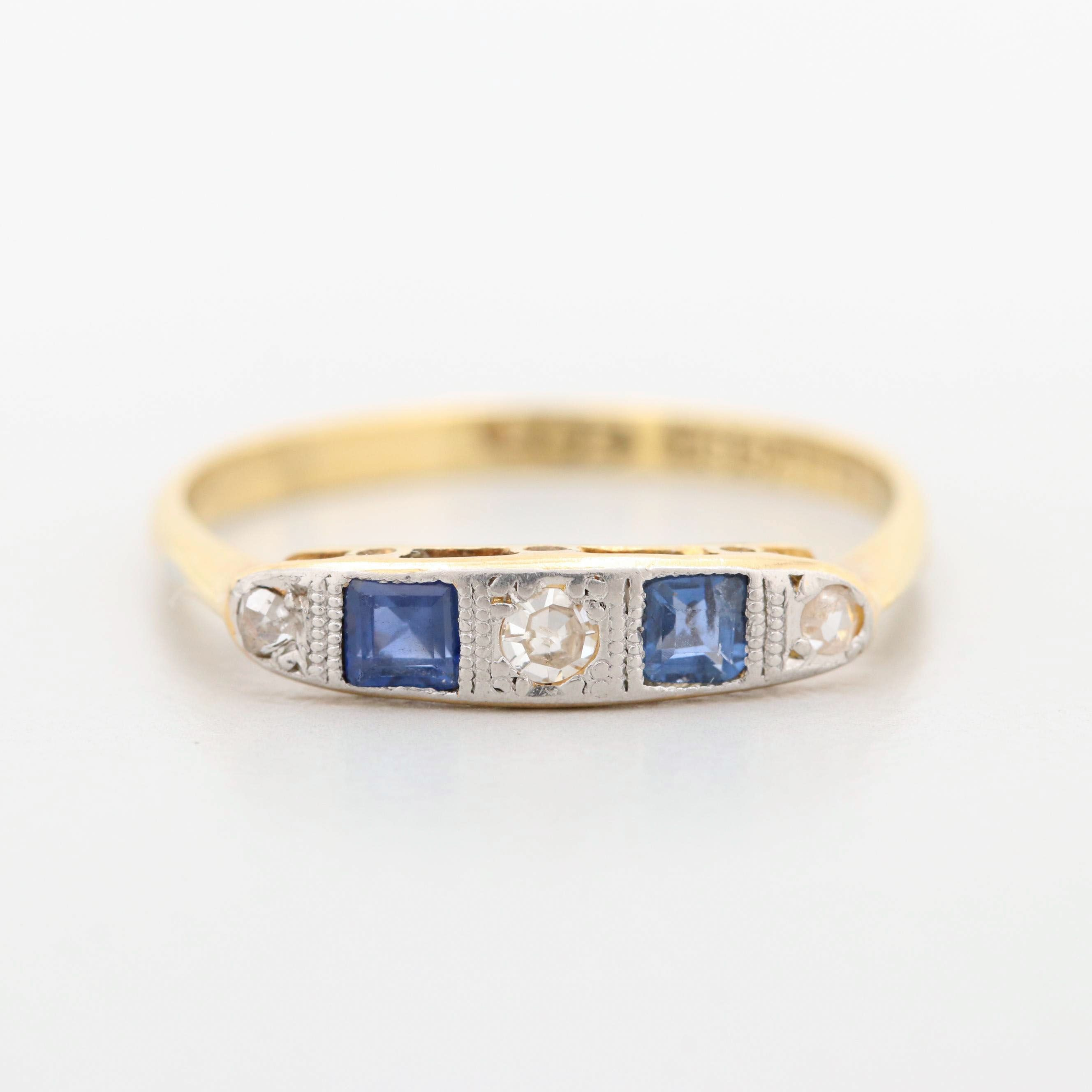 Art Deco 18K Yellow Gold Sapphire and Diamond Ring with Platinum Head