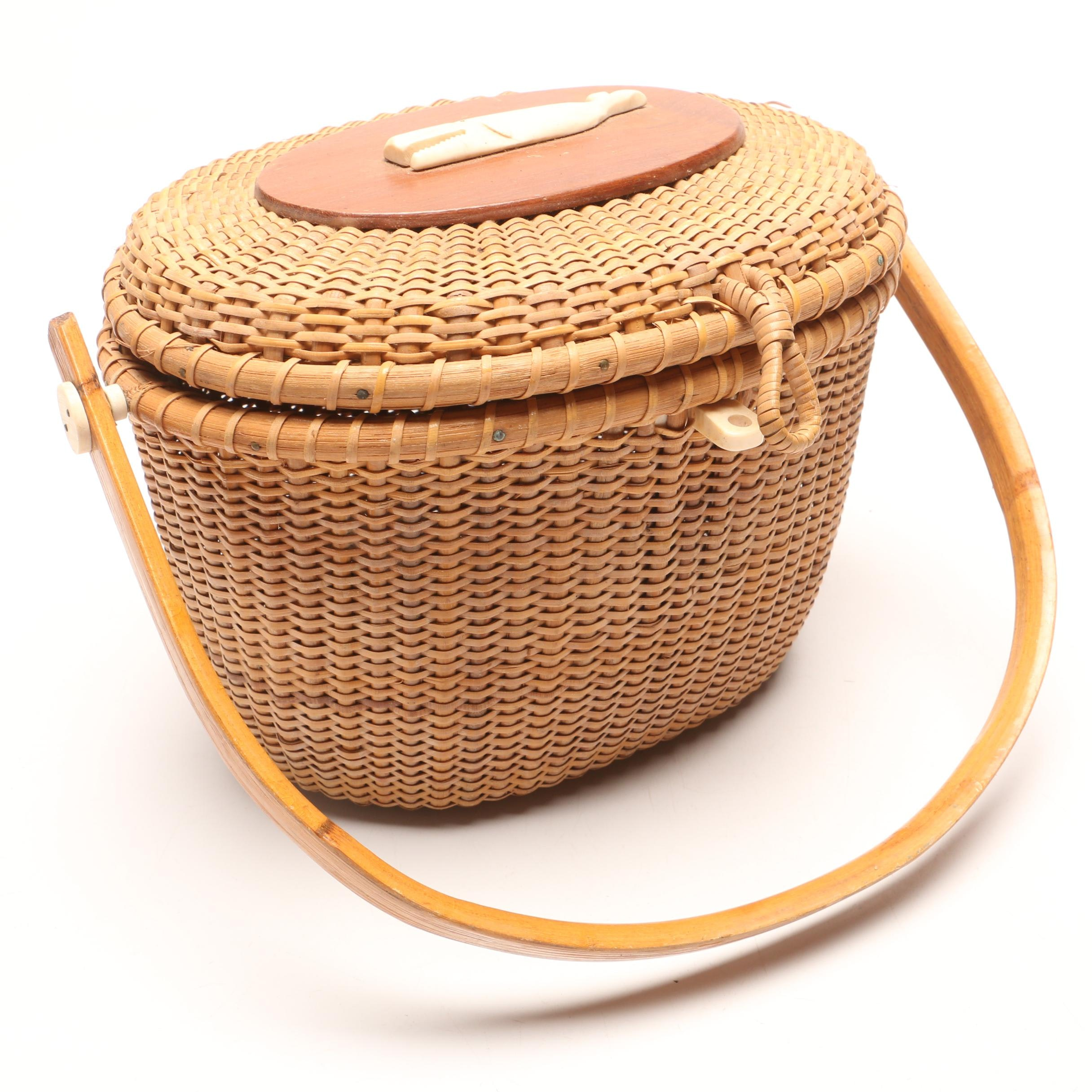 Nantucket Style Wicker Basket Purse with Carved Whale Accent