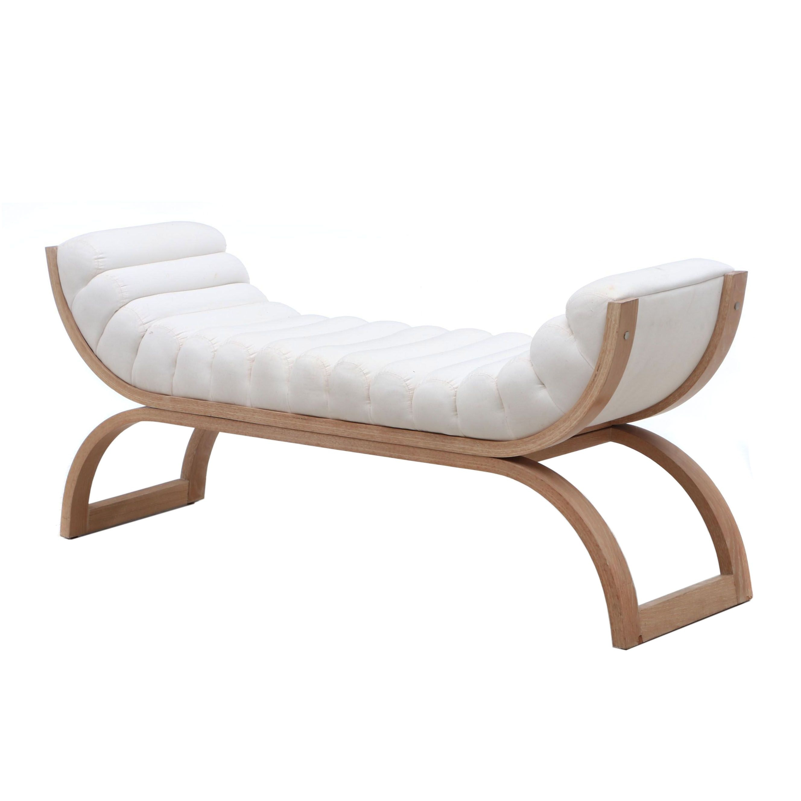 Modernist Channel Tufted Ash Bench