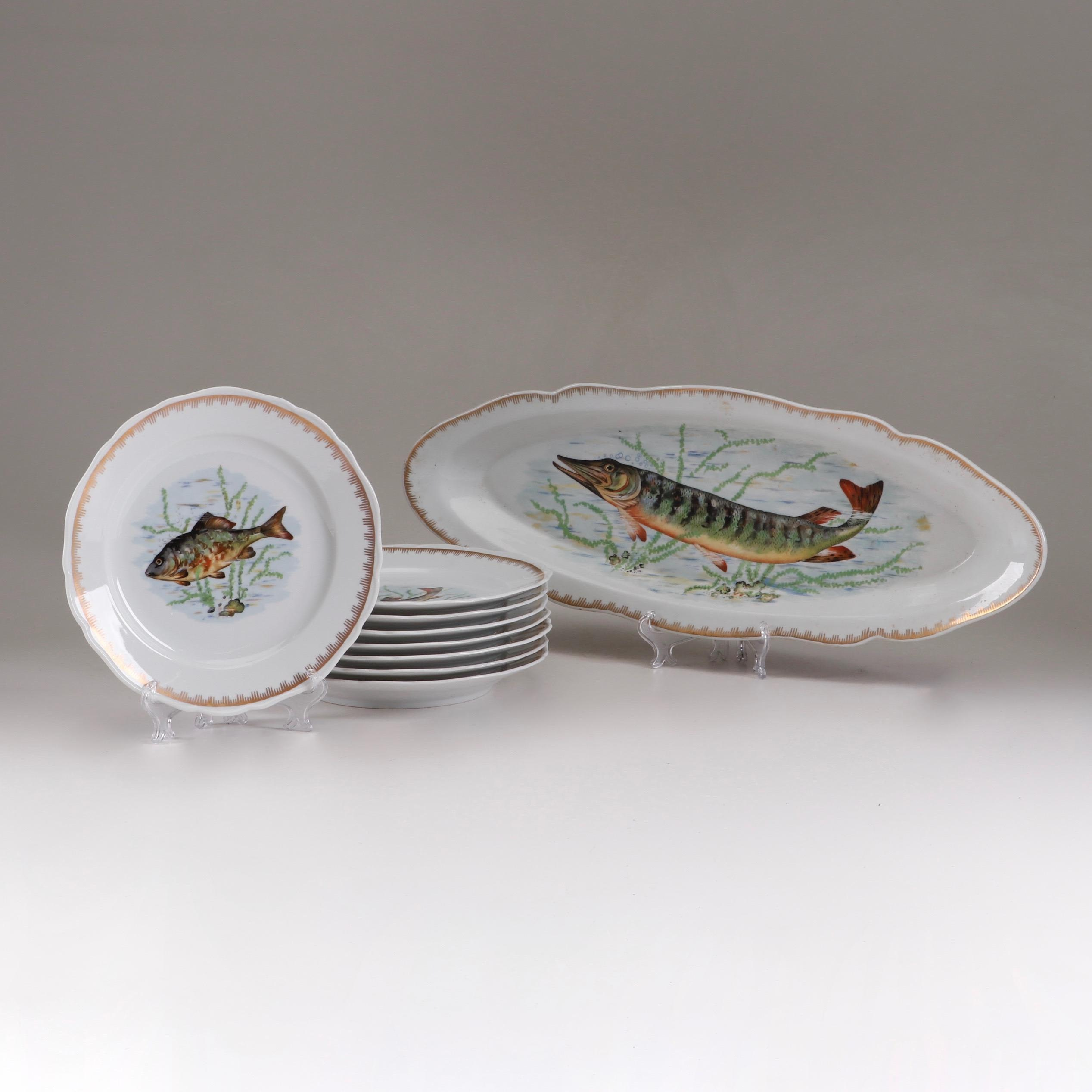 Hand-Painted Limoges Porcelain Fish Plates and Platter