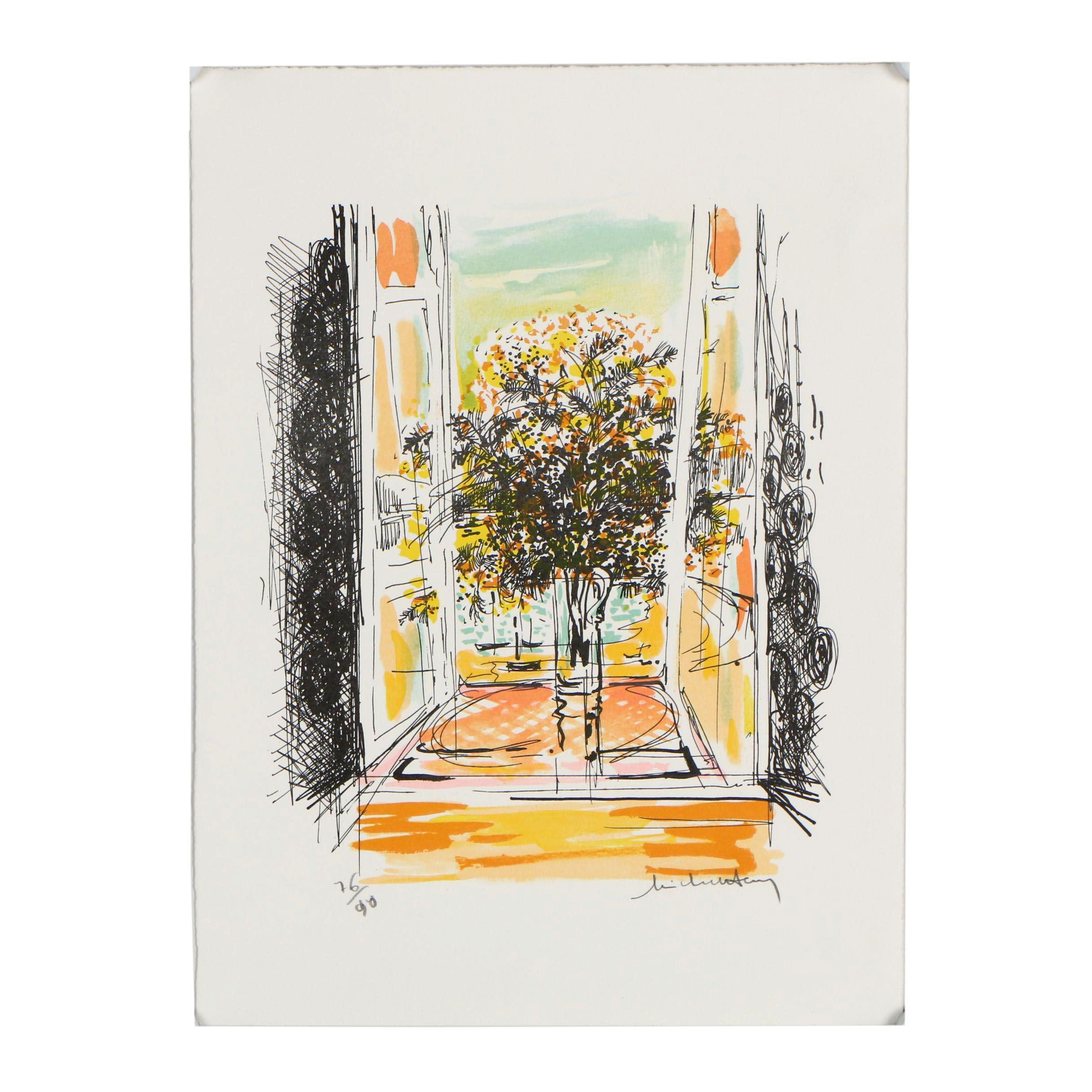 "Michel Henry Limited Edition Lithograph ""Flowers in Window Sill II"""