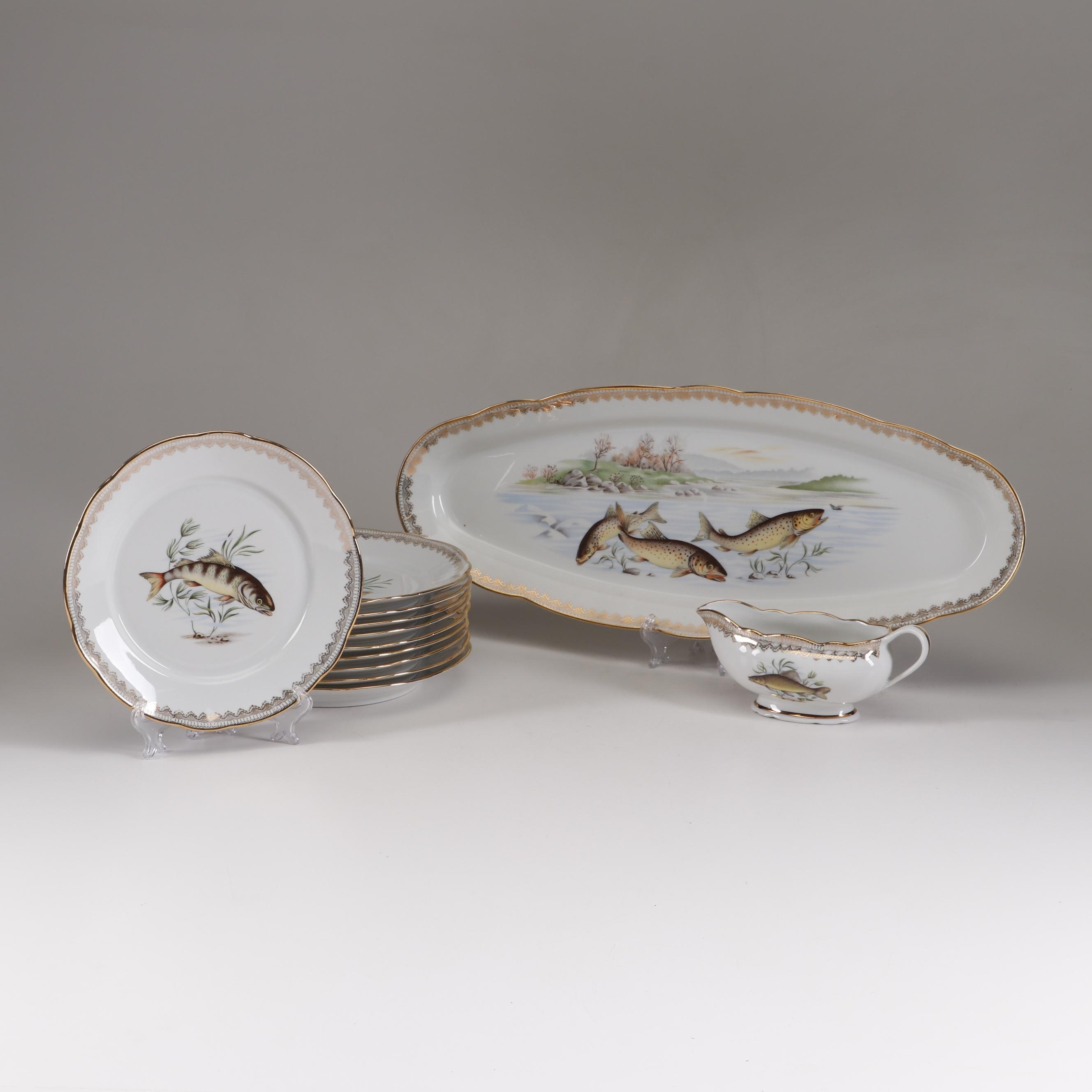 F. D. Chauvigny Porcelain Fish Plates and Serveware