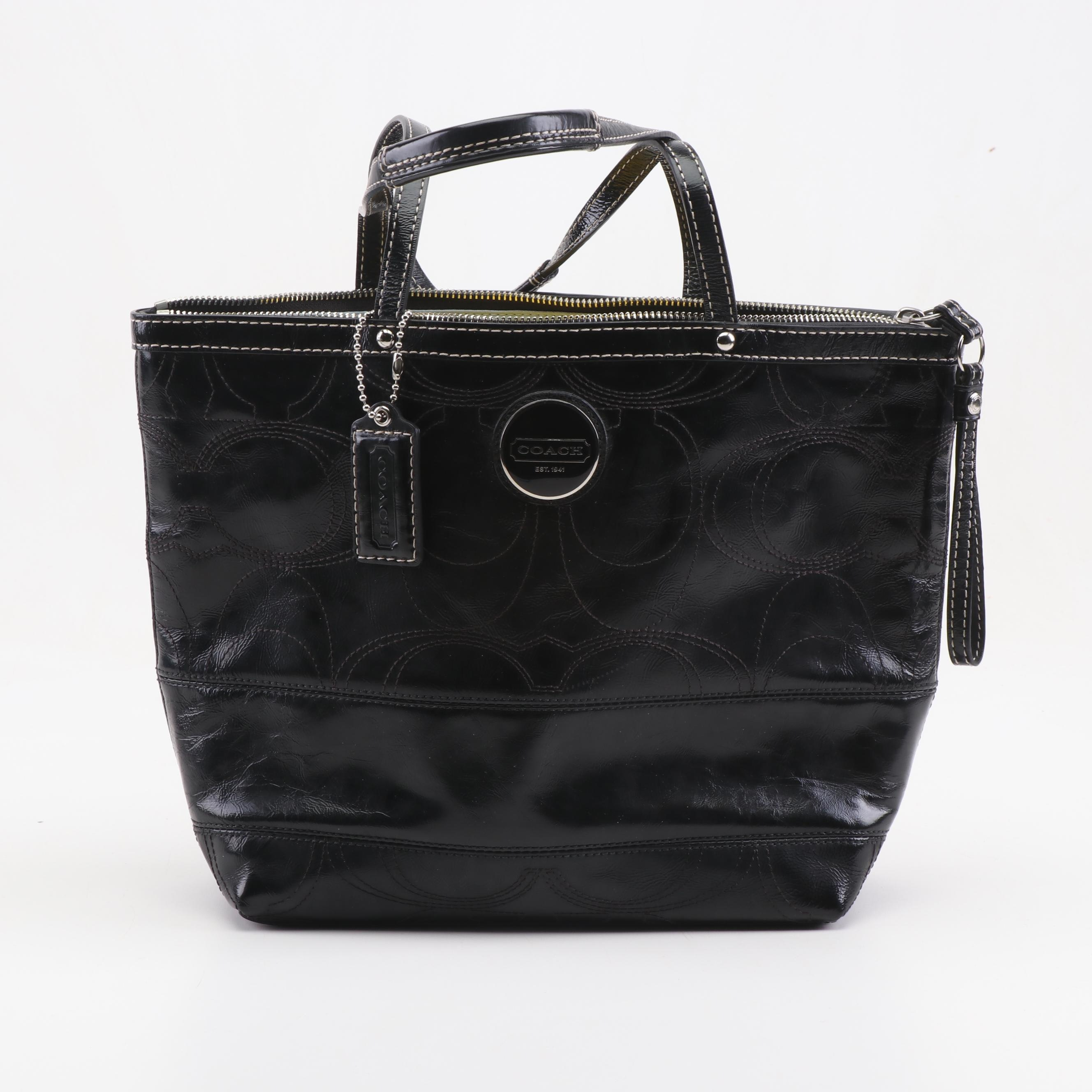 Coach Signature Stripe Black Patent Leather Tote
