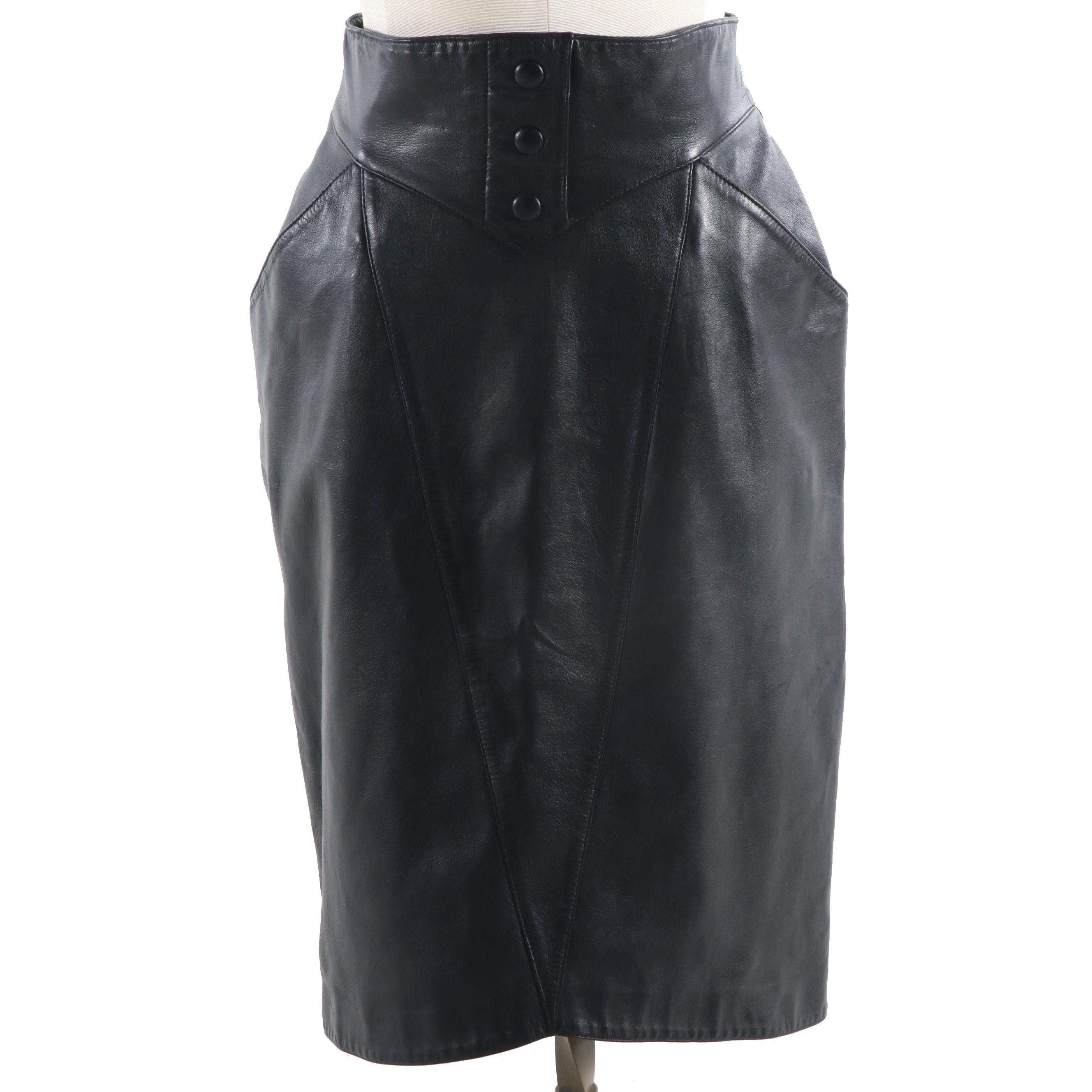 Women's Karl Lagerfeld Black Lambskin Skirt, Made in France
