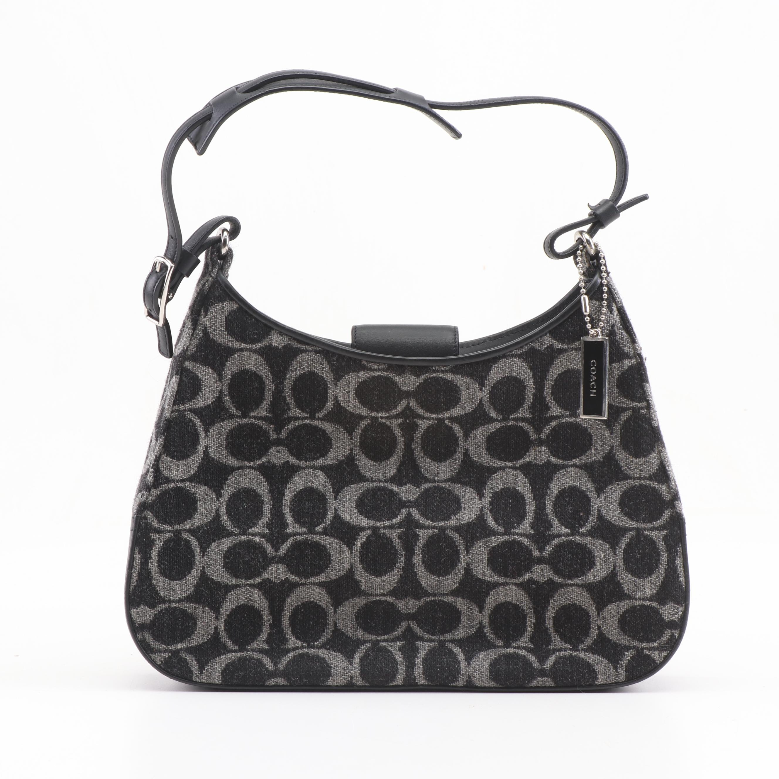 Coach Signature Black and Grey Wool Hobo Bag