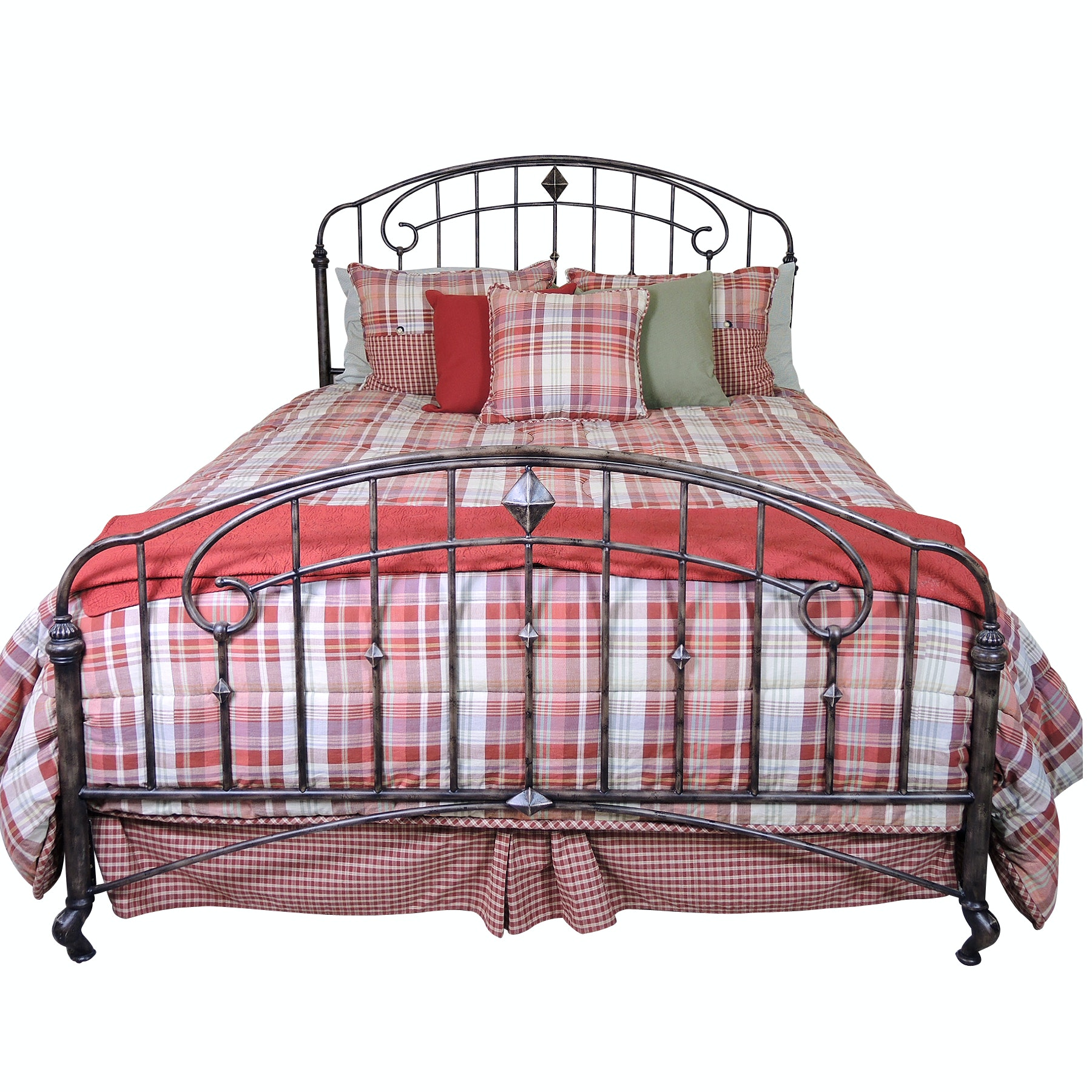 Metal Queen Size Bed Frame and Bedding