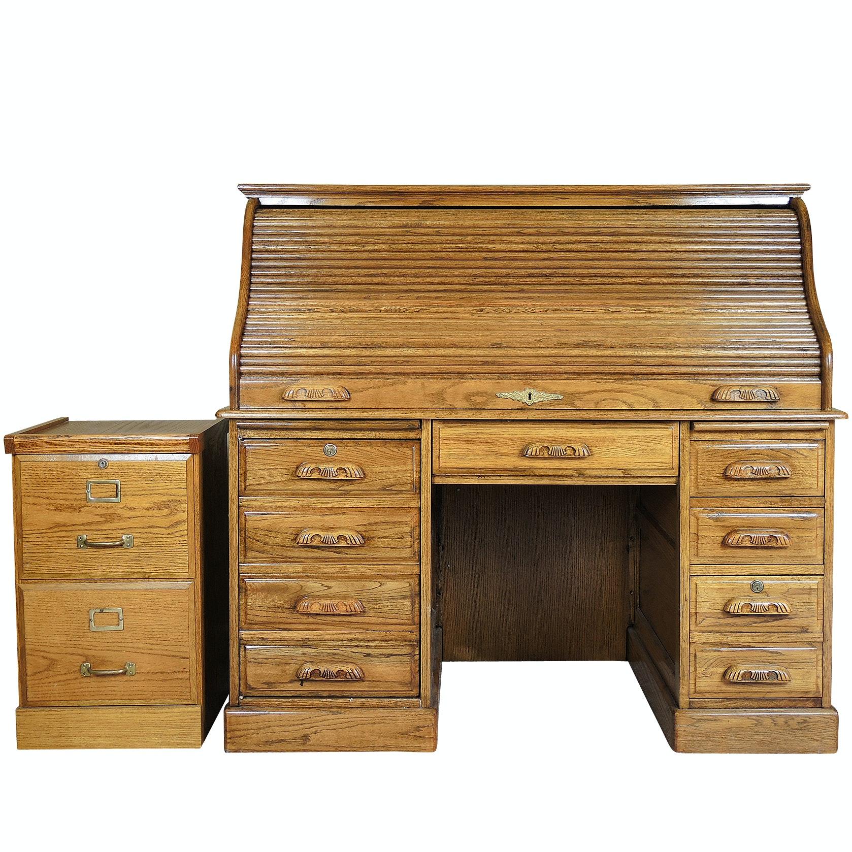 Oak Roll Top Desk and Filing Cabinet