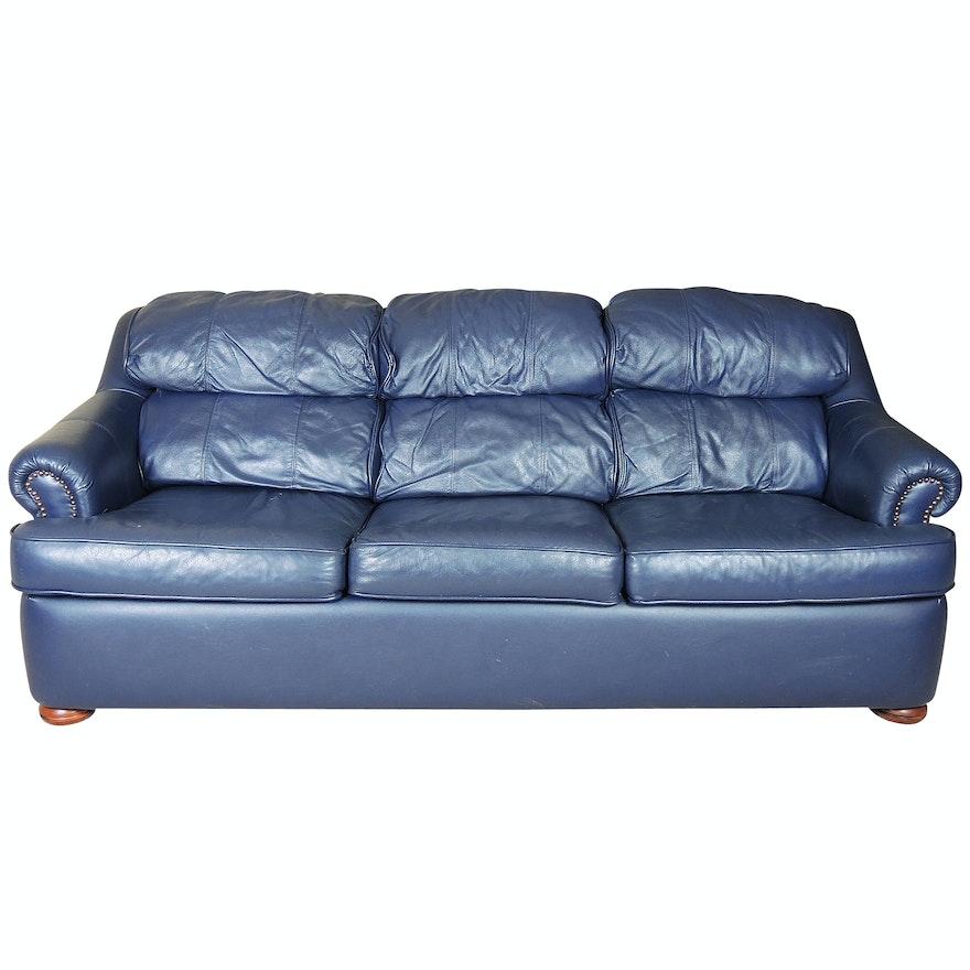 Lackawanna Navy Leather Sleeper Sofa Ebth