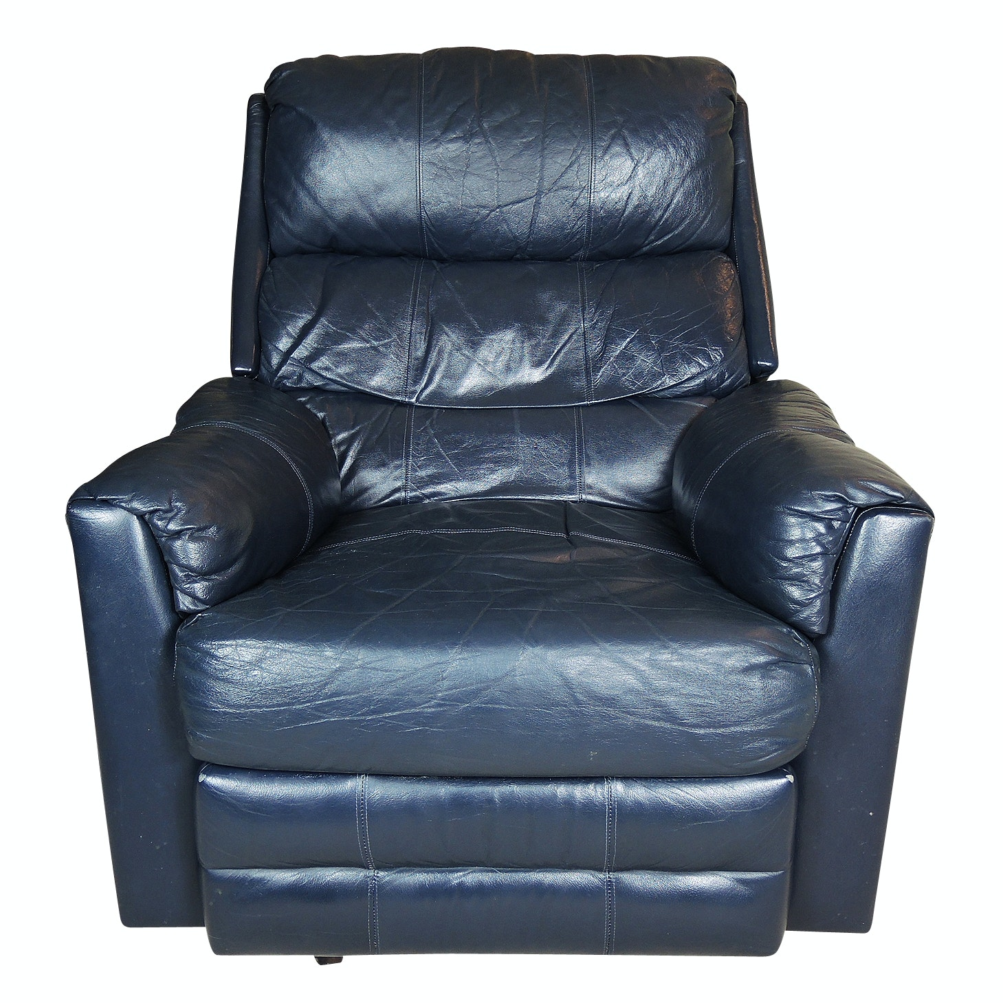 Leather Rocking Recliner in Navy