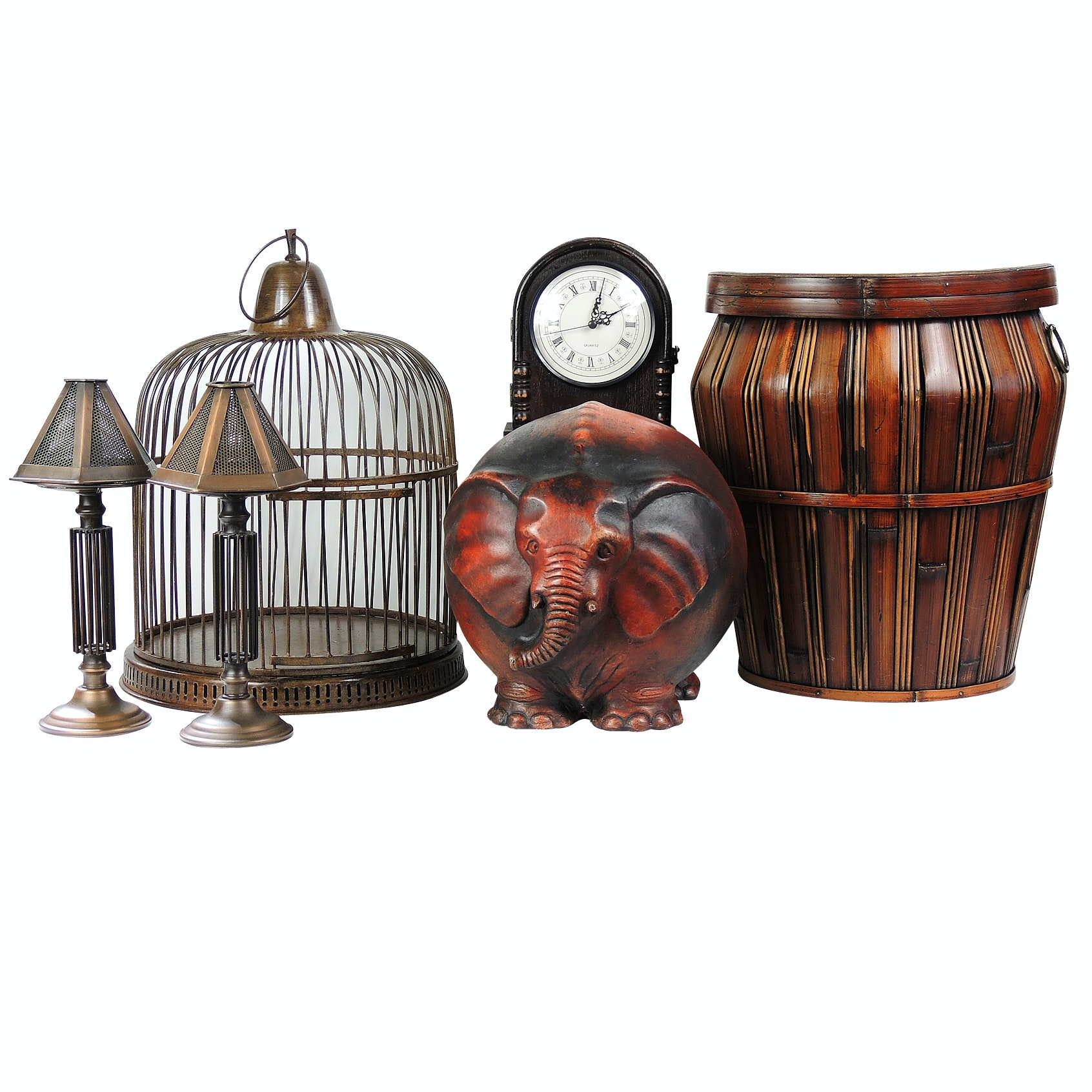 Bird Cage, Elephant Sculpture and Reproduction Clock Home Decor
