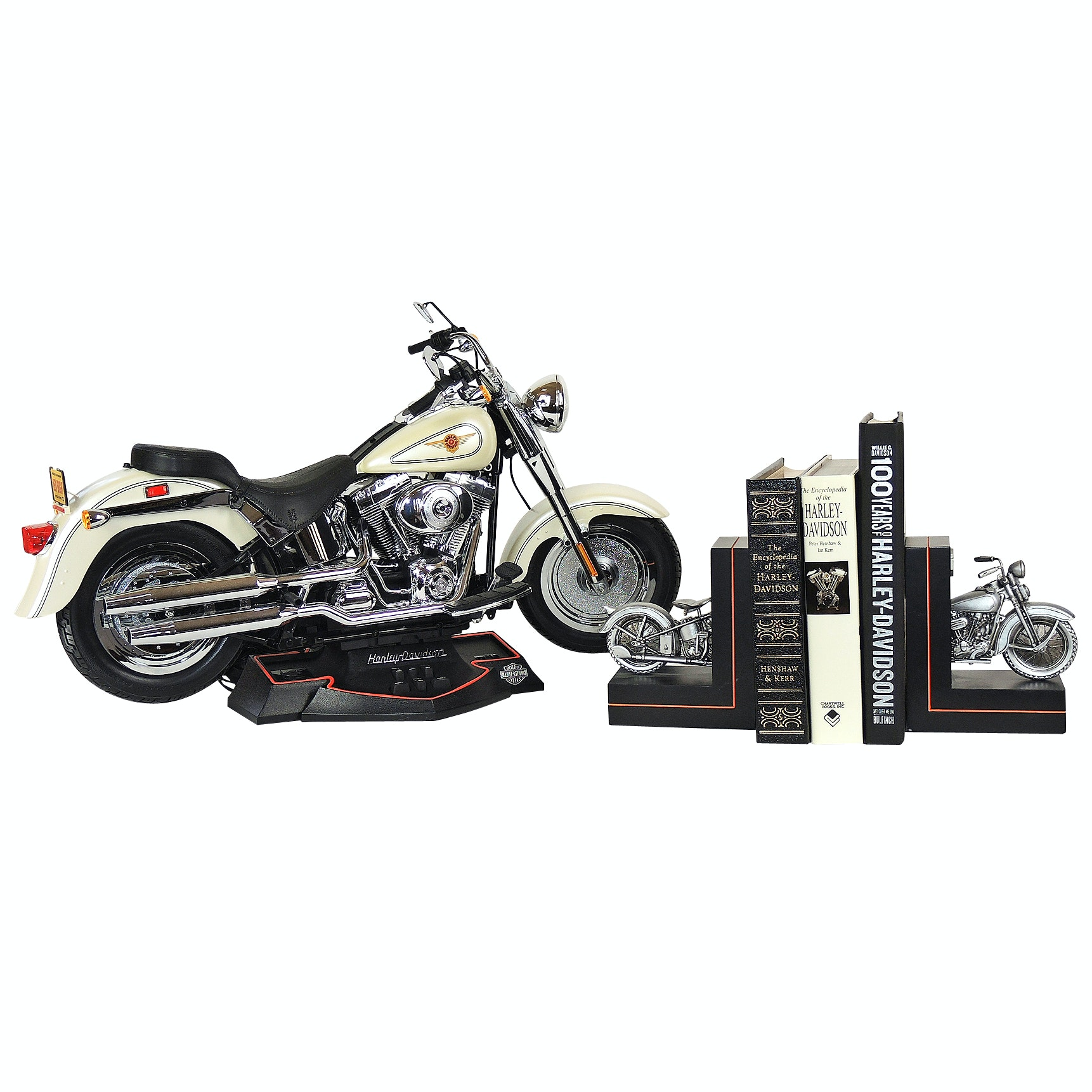 Harley-Davidson Electronic Model Motorcycle and Books with Bookends