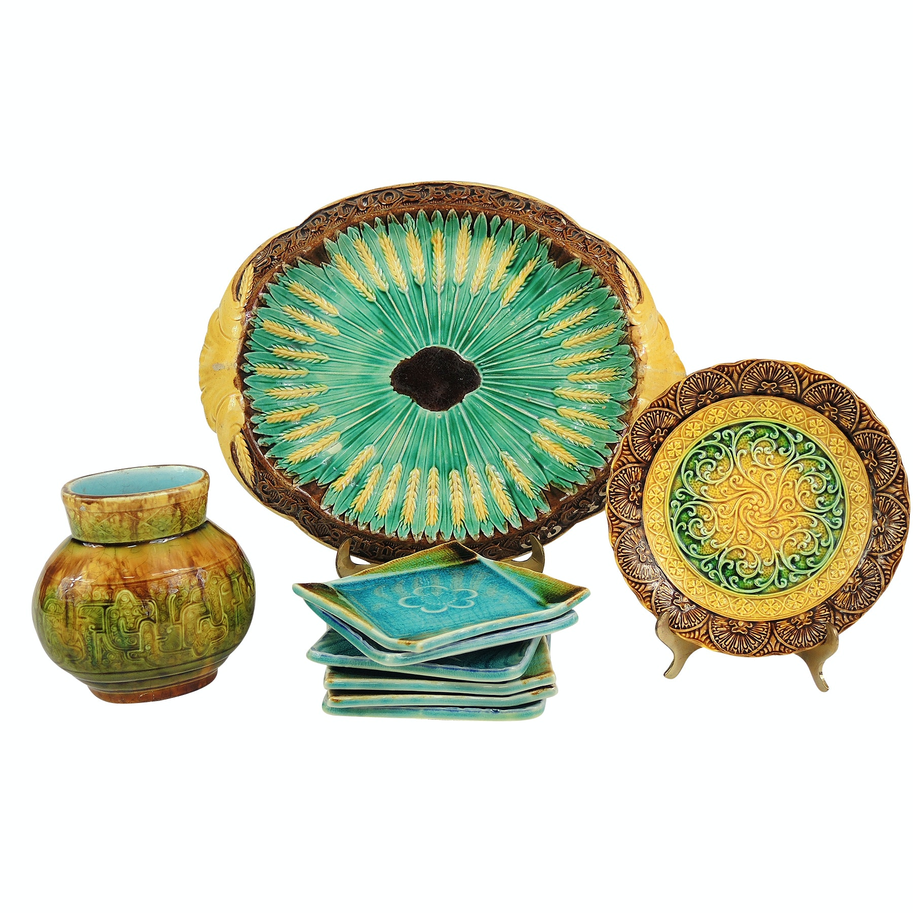 """Majolica Sarreguemines Vase with """"Where Reason Rules"""" Bread Tray and More"""