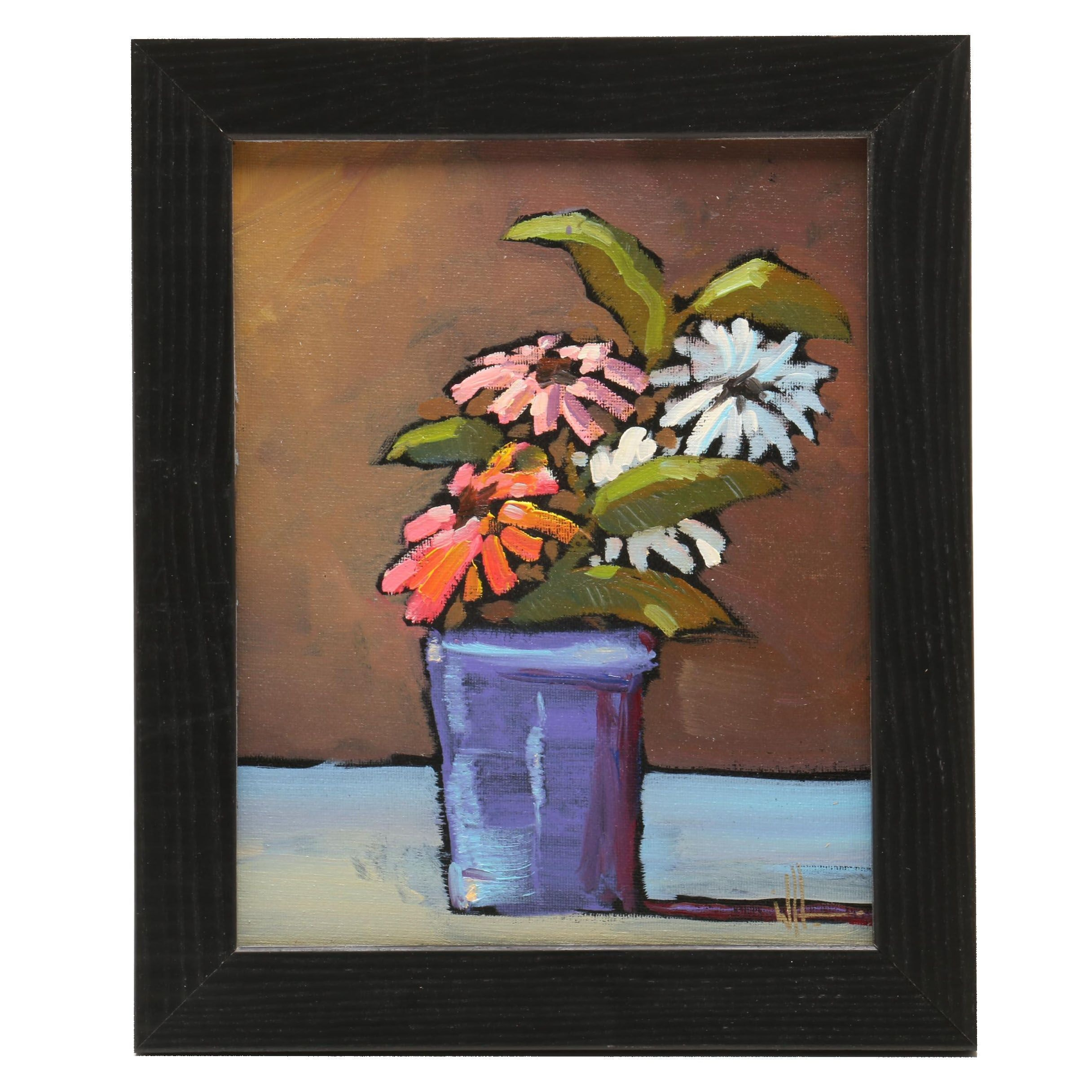 William Hawkins Floral Still Life Oil Painting