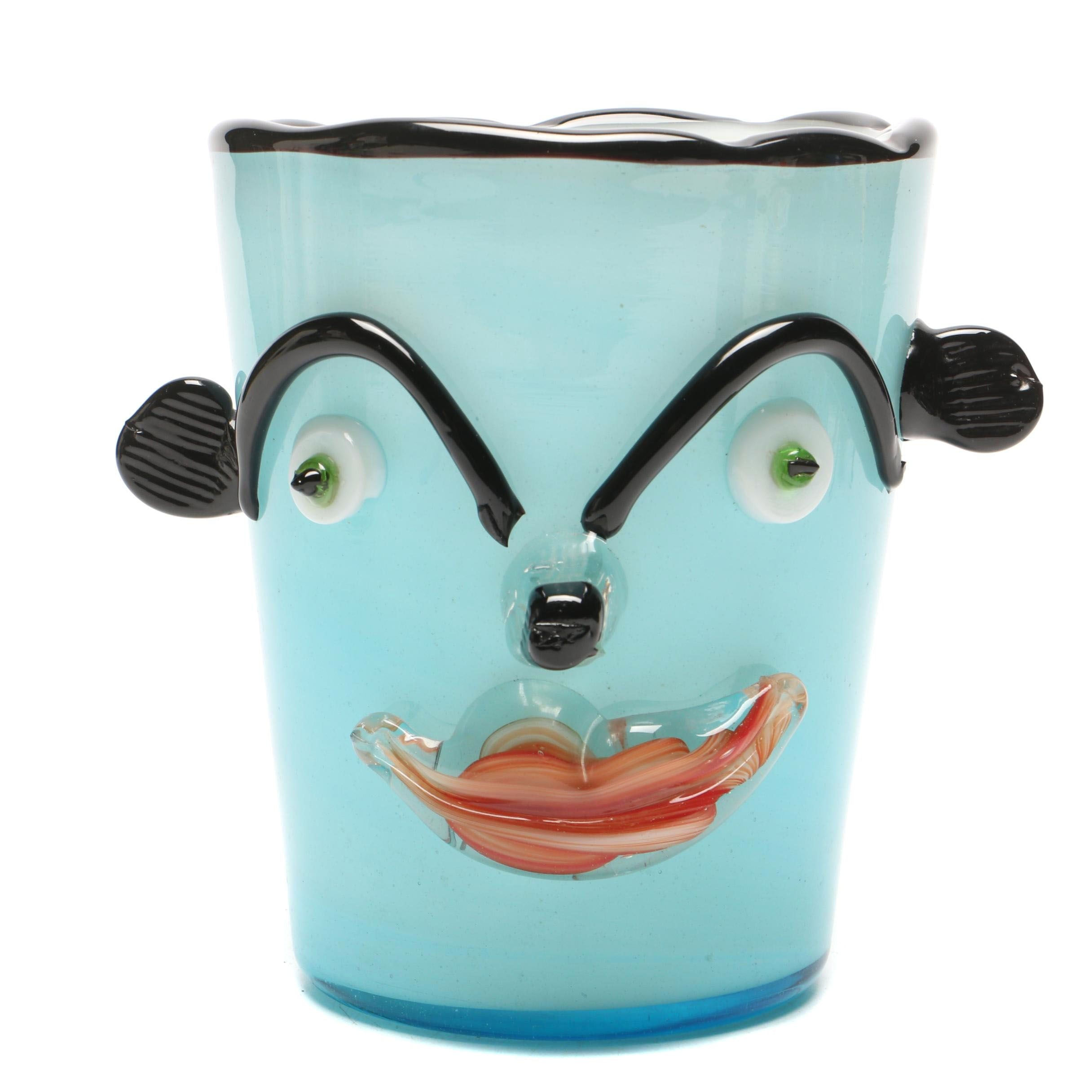 Murano Attributed Blown Glass Face Vase