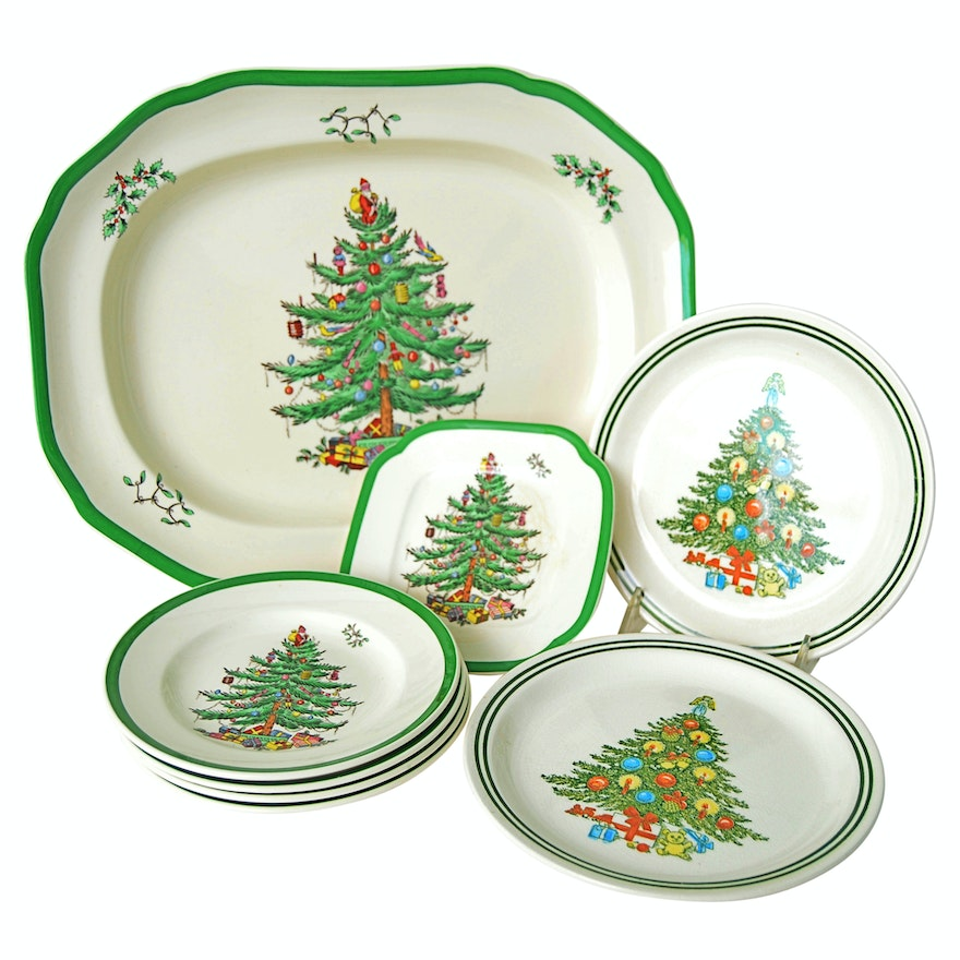 Christmas Platter Plates.Spode Christmas Tree Serving Platter And Dessert Plates With Others