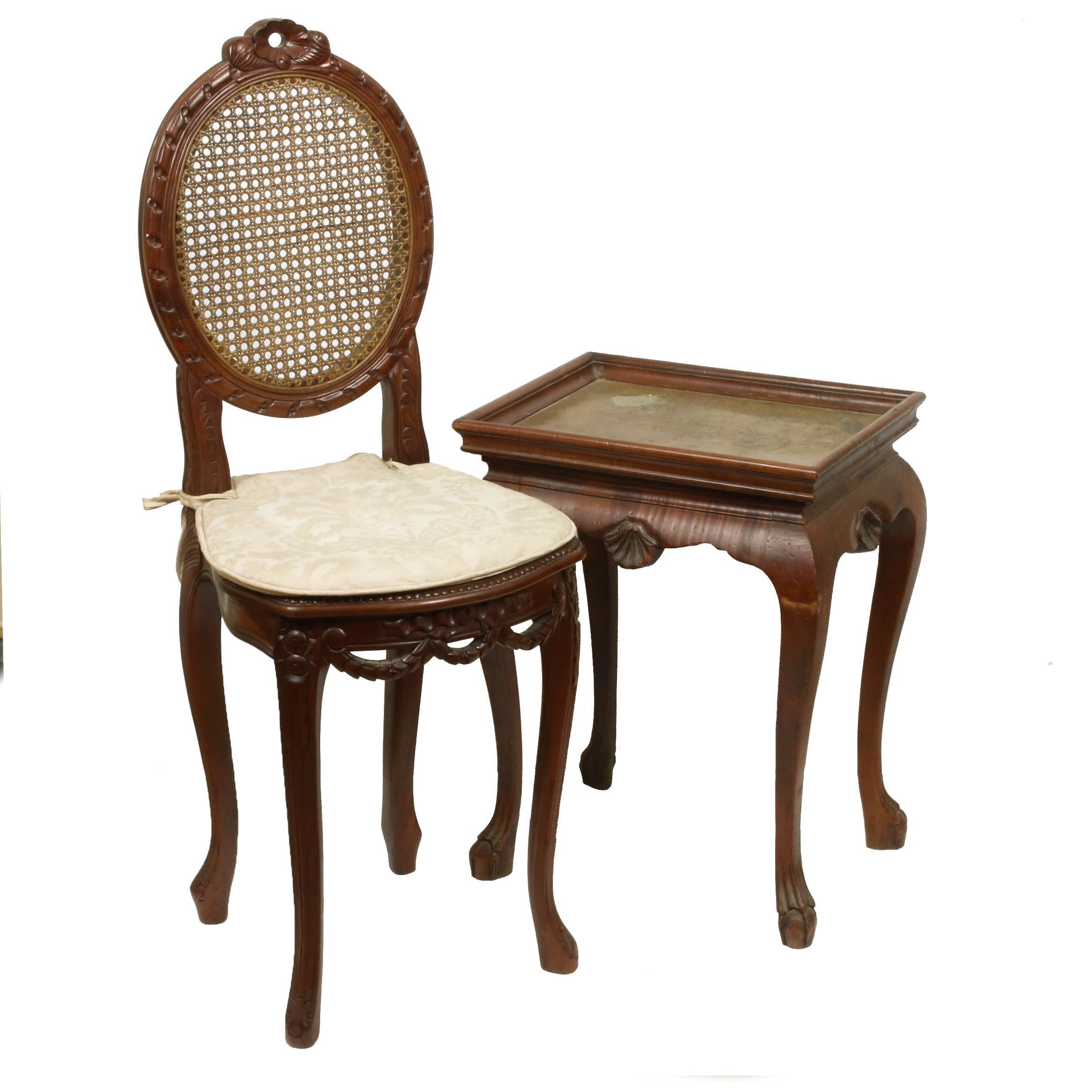 Cane Back Side Chair with Ornate Queen Anne Style Accent TableEdit