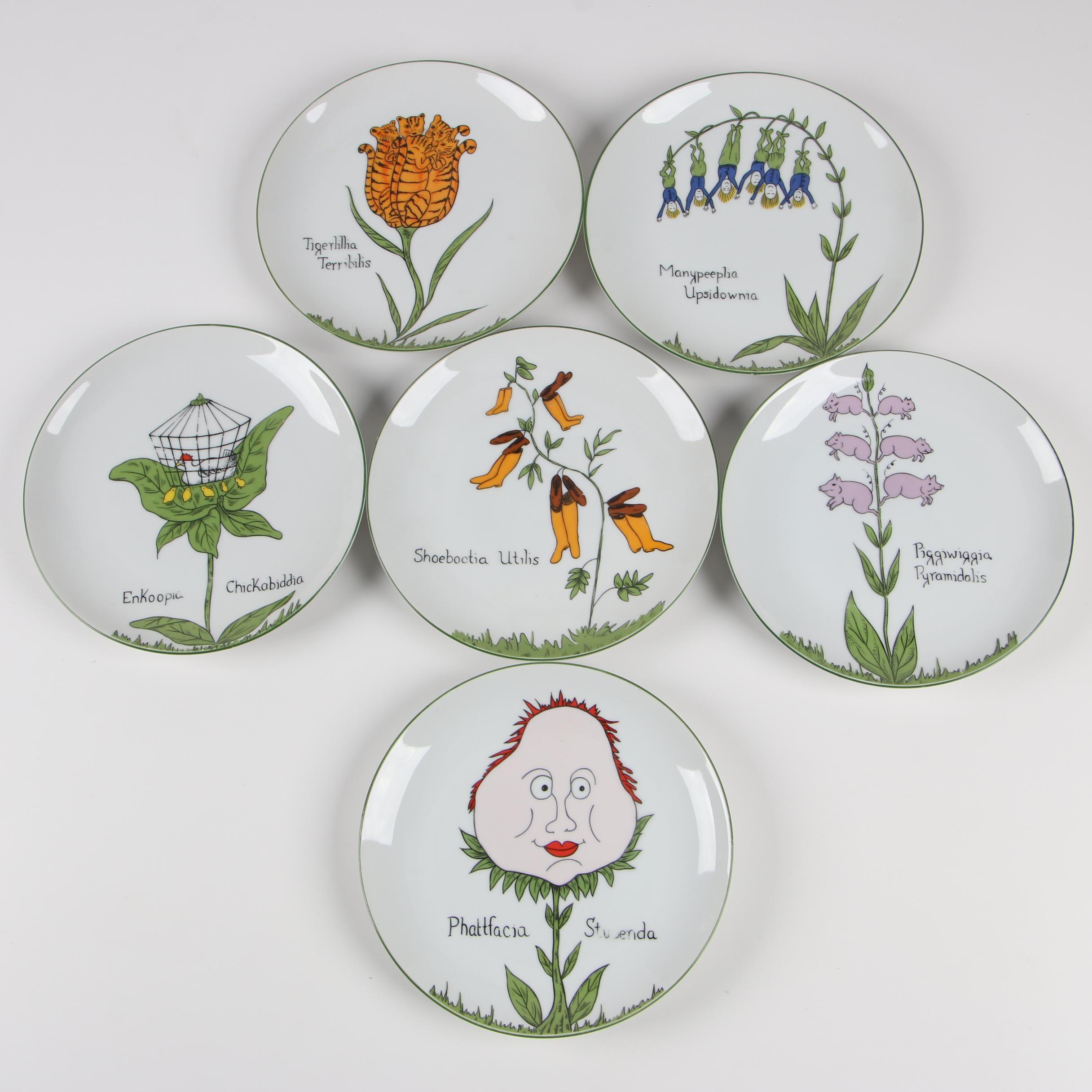 Taste Setter Franci Villa Vanilla Palm Beach Ceramic Salad Plates