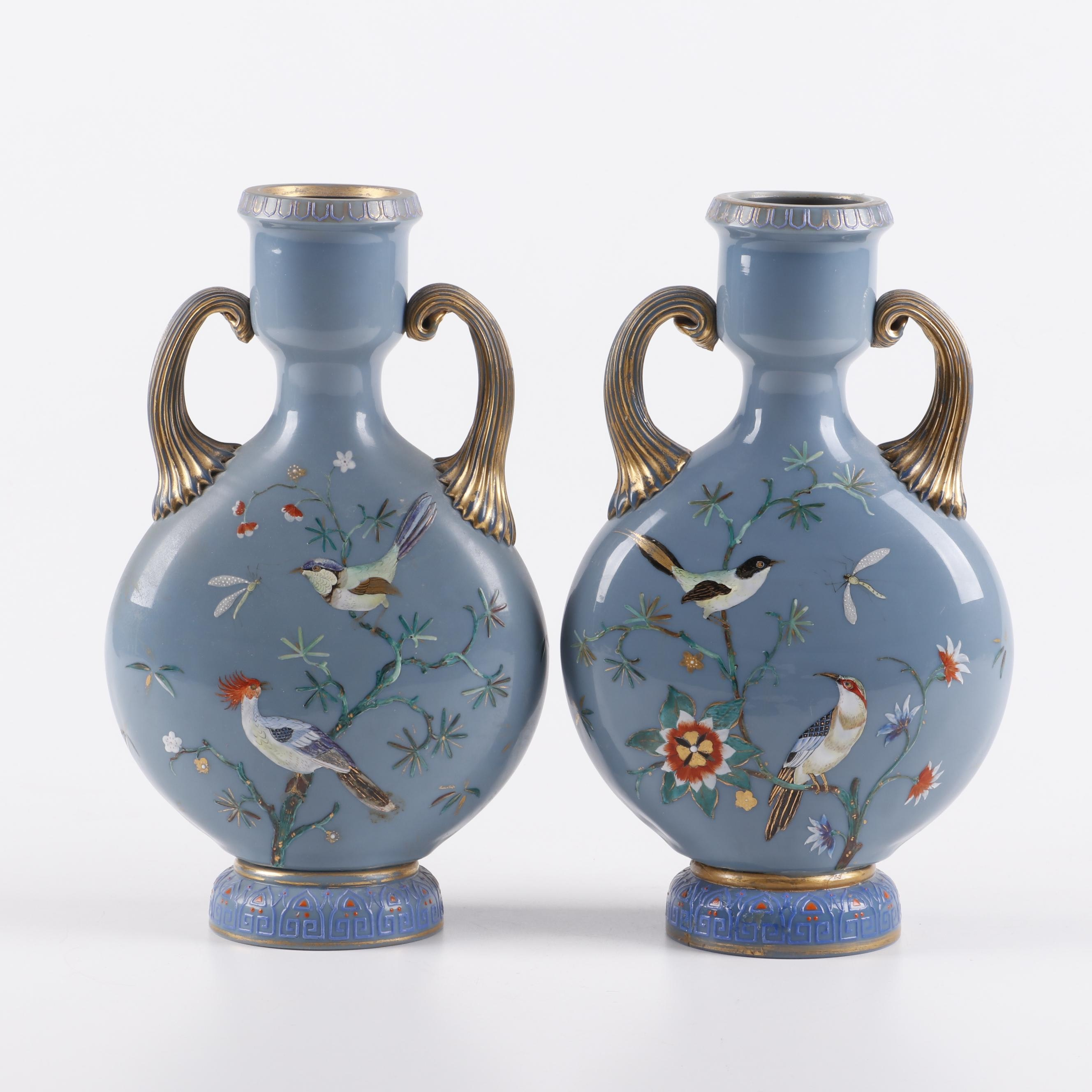 Victorian Hand-Painted Bristol Glass Vases, Late 19th Century
