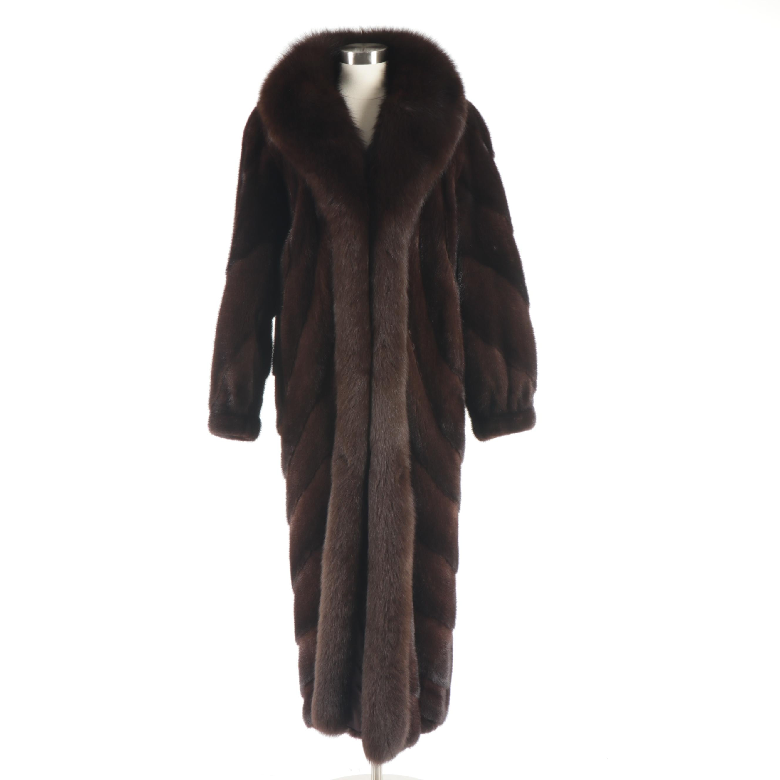 Mary McFadden Furs Mahogany Mink Fur Coat with Fox Fur Tuxedo Collar
