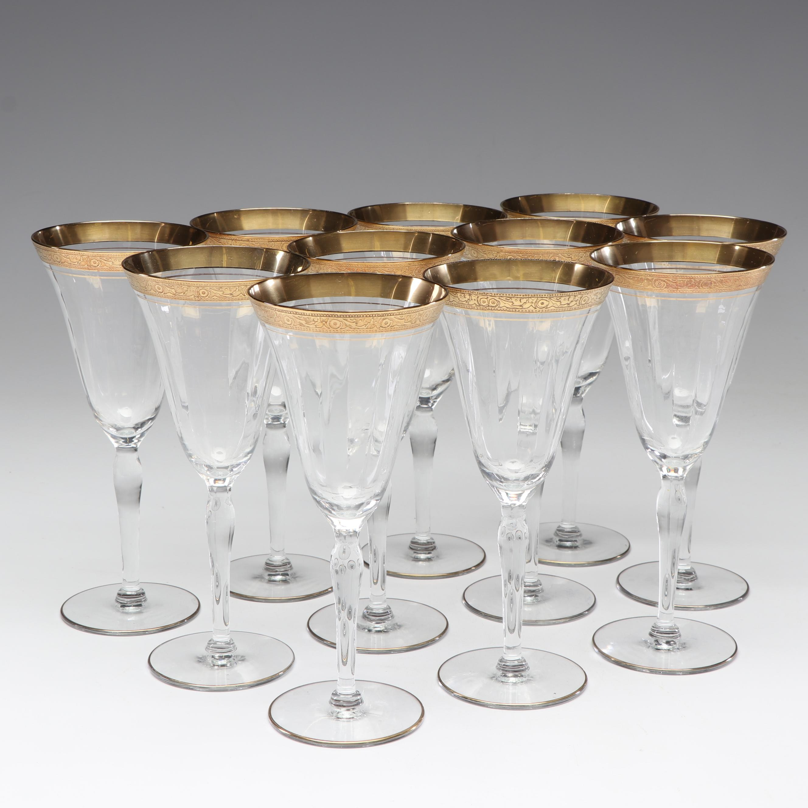 Set of Gold Rimmed Sherry Glasses