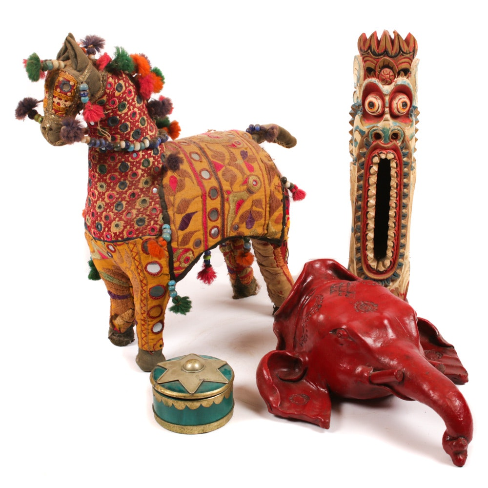 Indian Fabric Horse Figurine and Other Global Souvenir Decor