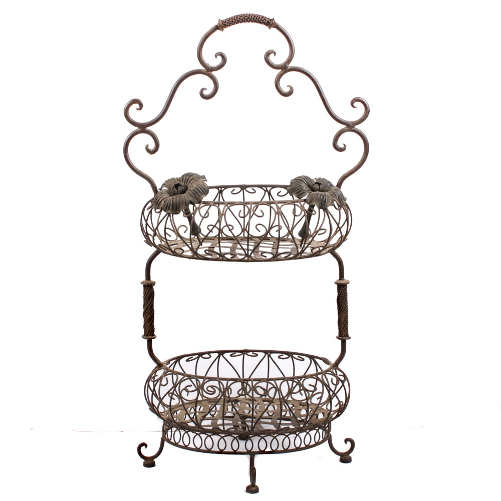 Chinese Style Wrought Metal Plant Stand with Floral Door Knobs