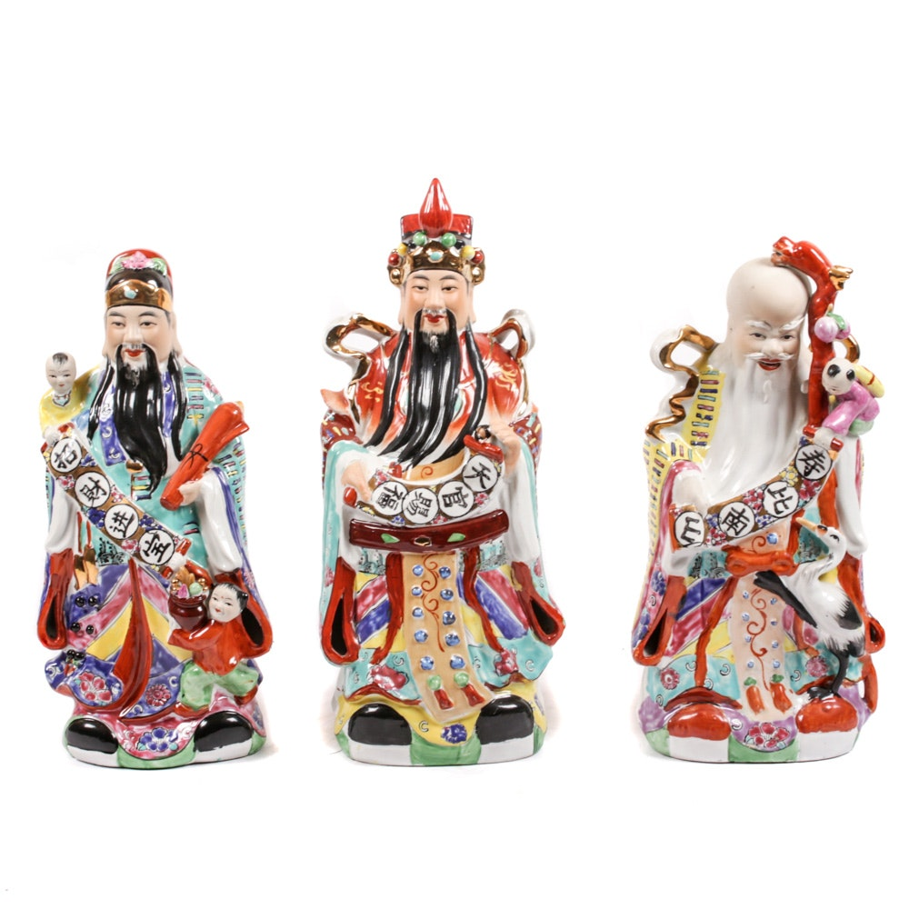 Chinese Hand-Painted Porcelain Figurines of the Sanxing Deities