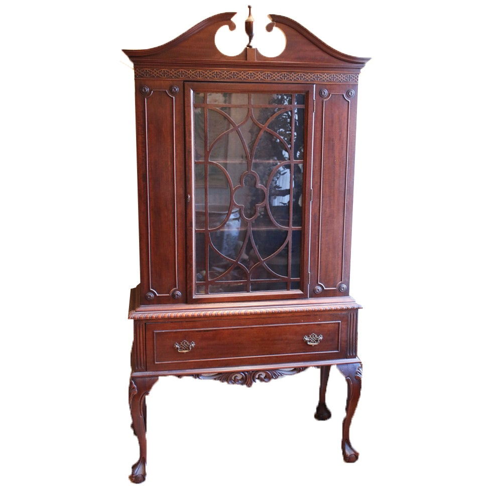 Queen Anne Style Mahogany Display Cabinet