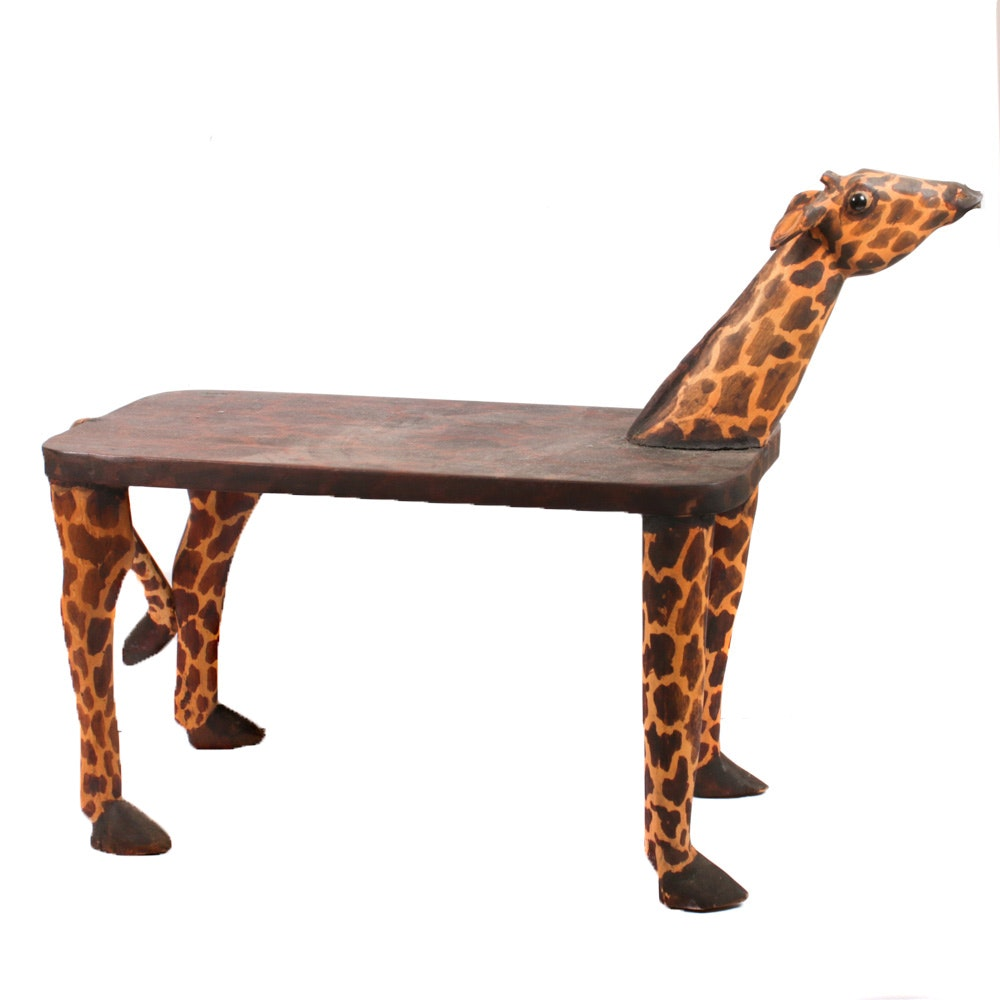 Hand-Carved Wooden Giraffe Side Table
