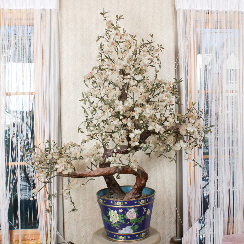 5' Chinese Carved Stone Flowering Tree in Cloisonné Planter