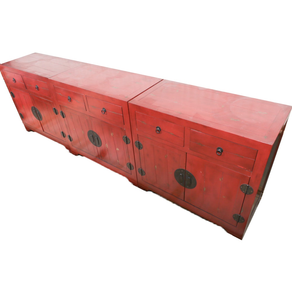 Contemporary Chinese Style Red Lacquered Buffets