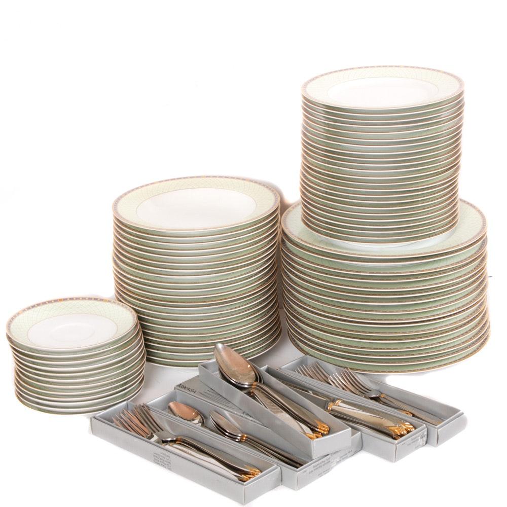 "Mikasa ""Roman Jewel"" Dinnerware and ""Cinema Gold"" Flatware Collection"